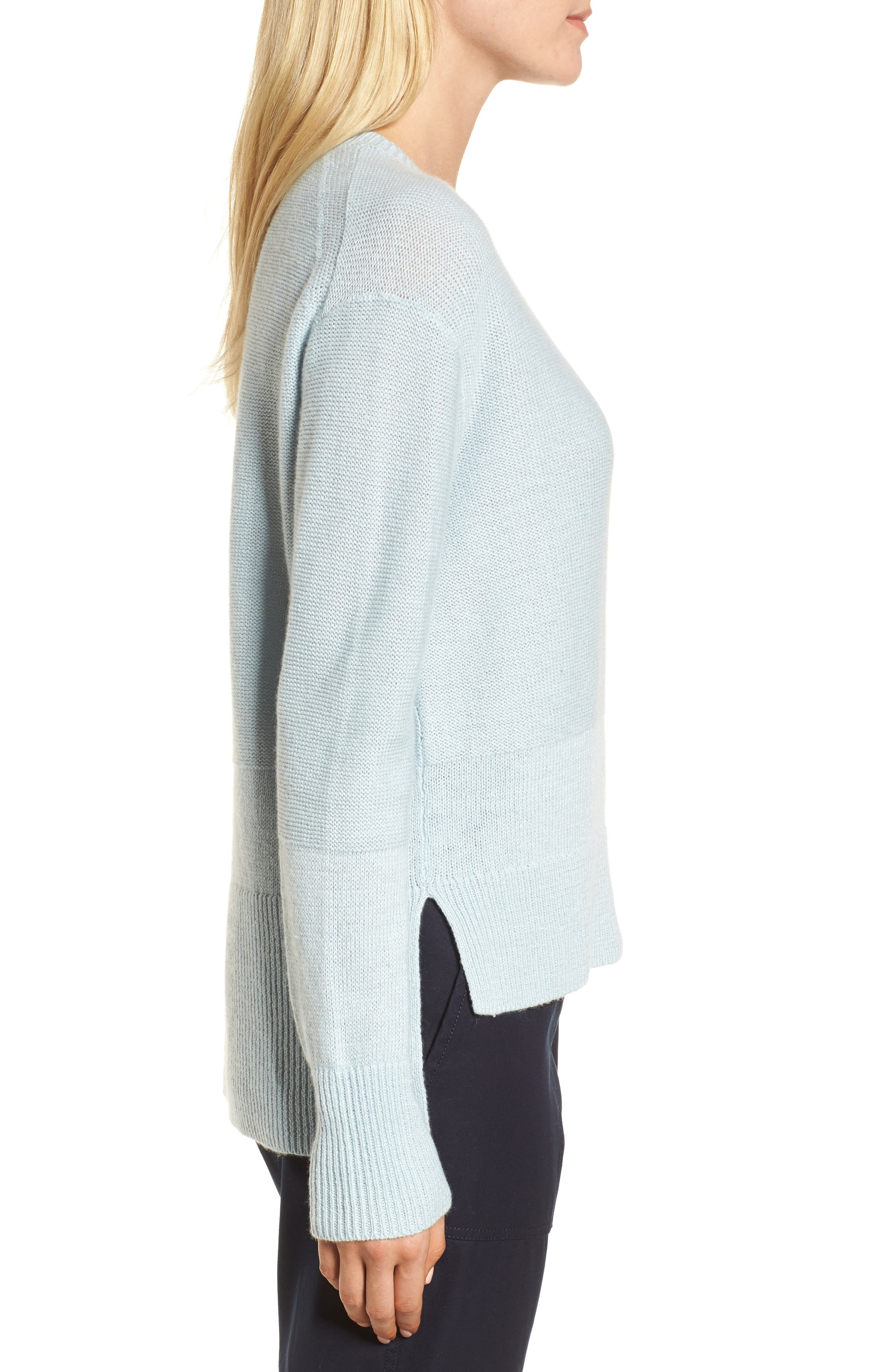 Linen & Cashmere Sweater,                             Alternate thumbnail 3, color,                             Teal Steam