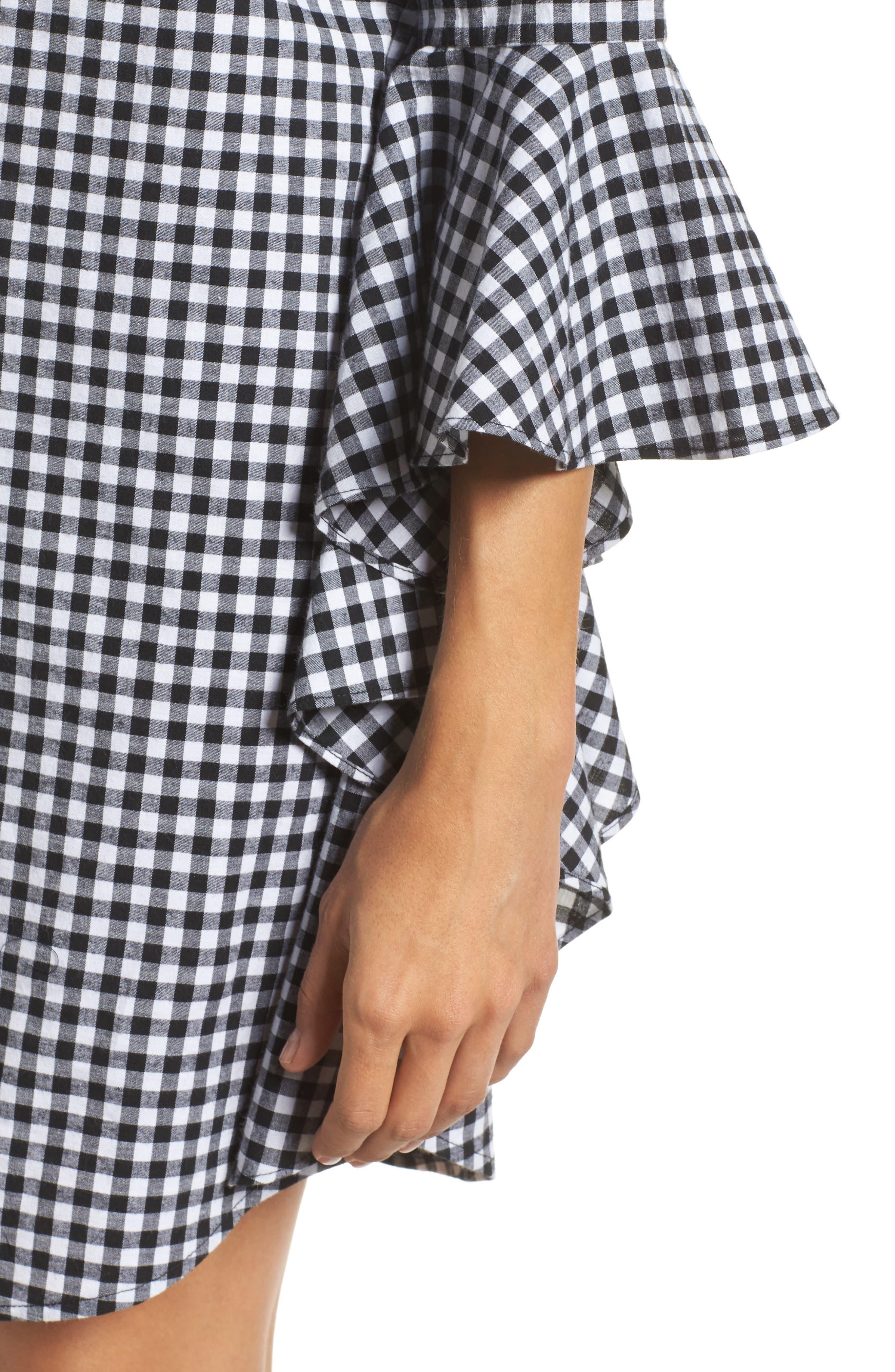 Ruffle Sleeve Gingham Shift Dress,                             Alternate thumbnail 4, color,                             Black/ White Gingham
