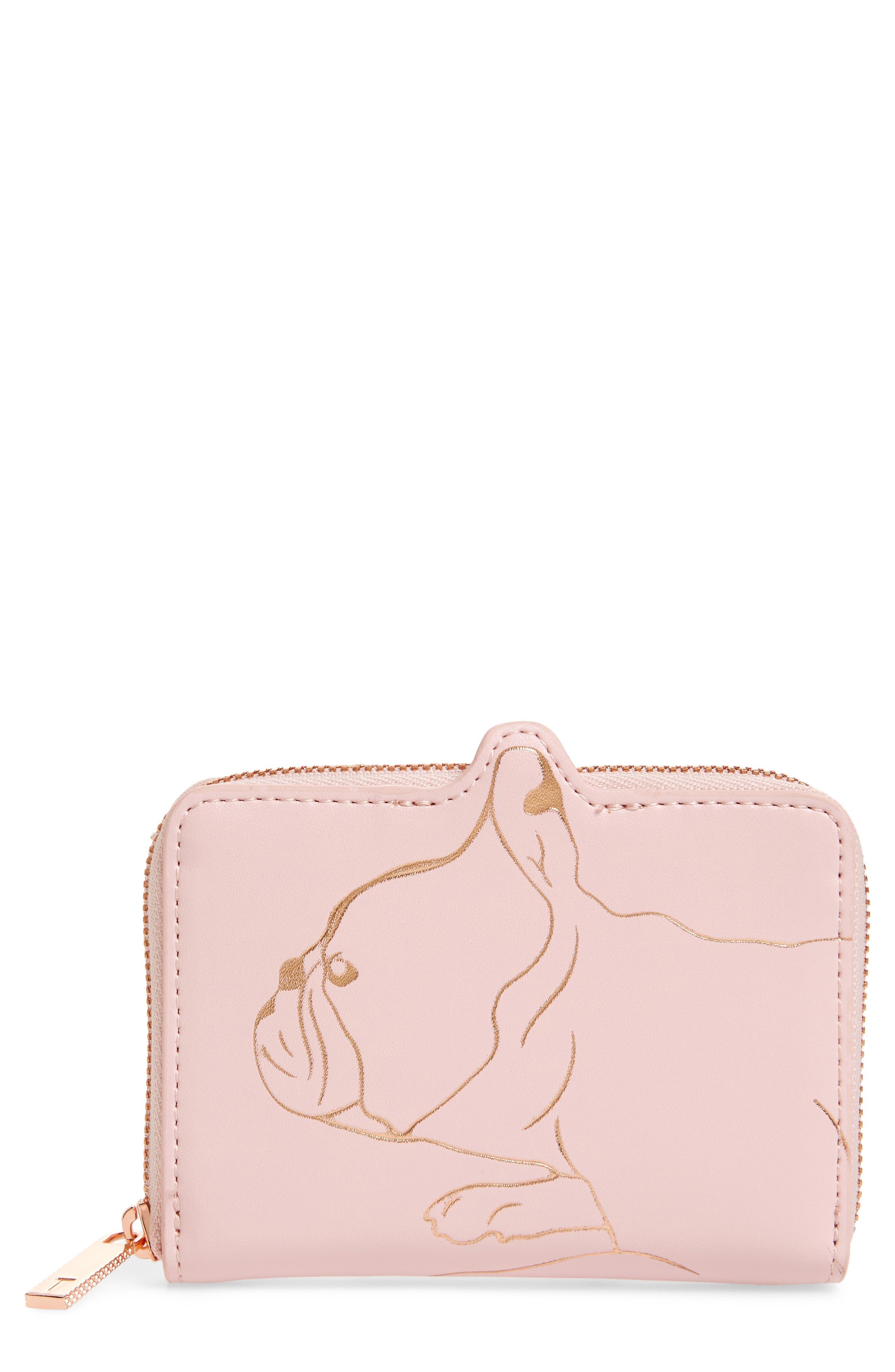 Danyela Leather Zip Purse,                             Main thumbnail 1, color,                             Light Pink