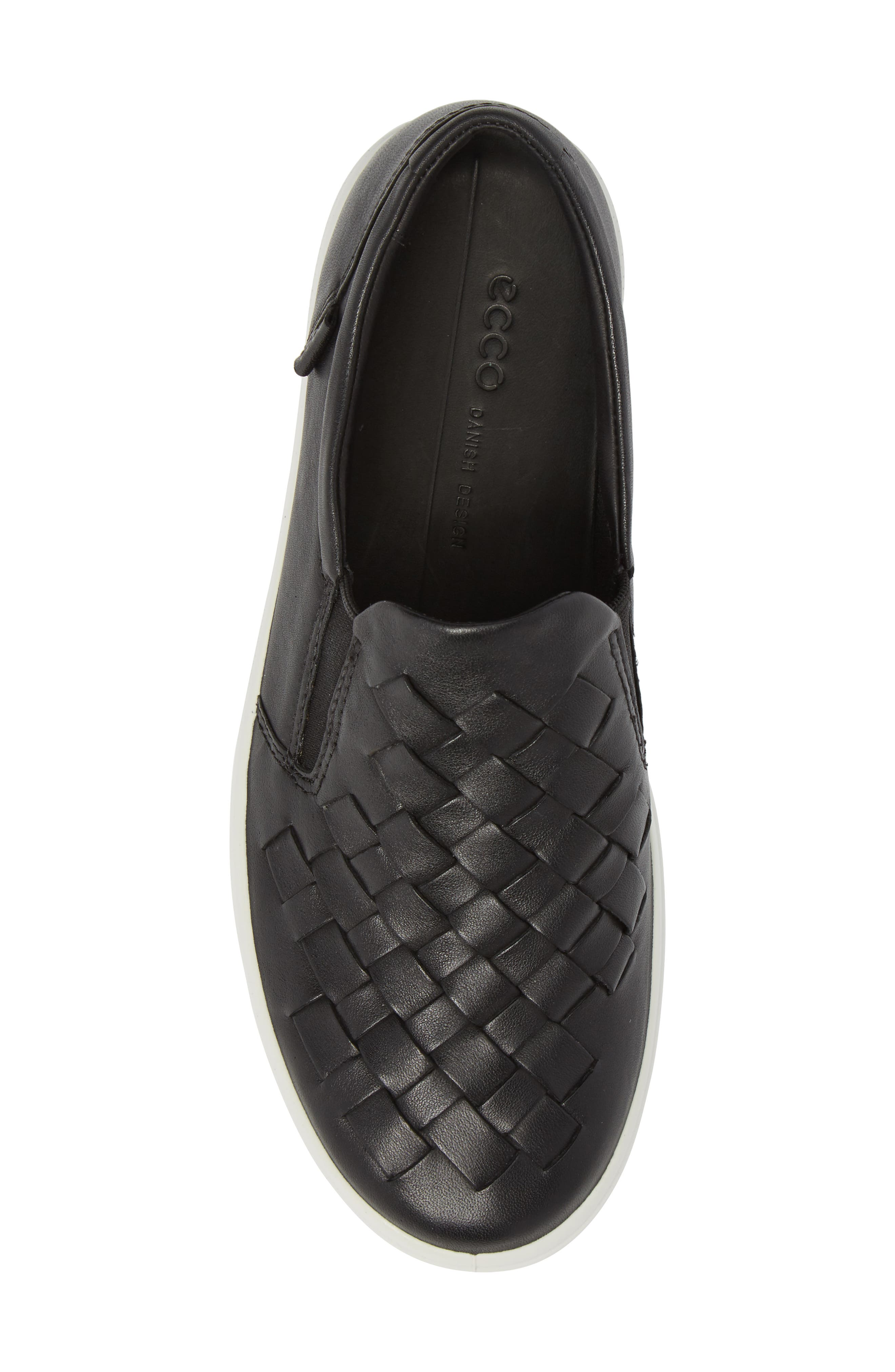 ECO Soft 7 Woven Slip-On Sneaker,                             Alternate thumbnail 5, color,                             Black Leather