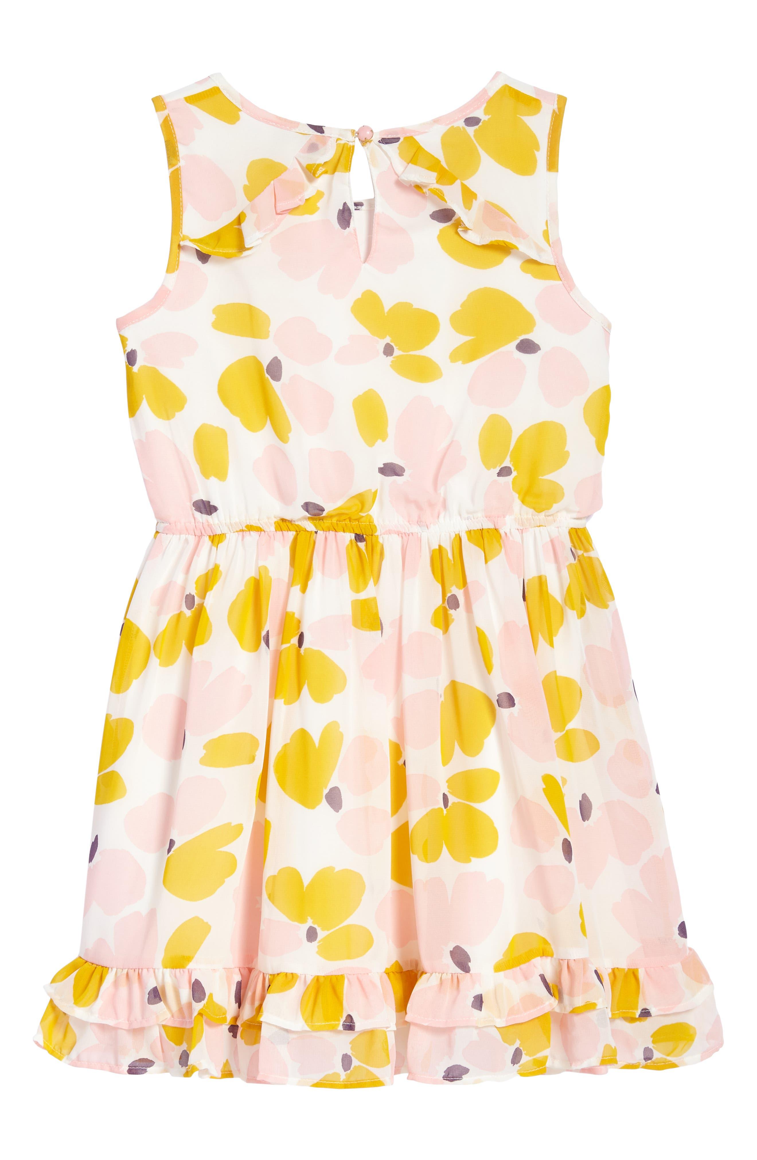 ruffle hem dress,                             Alternate thumbnail 2, color,                             Paint Daub Floral