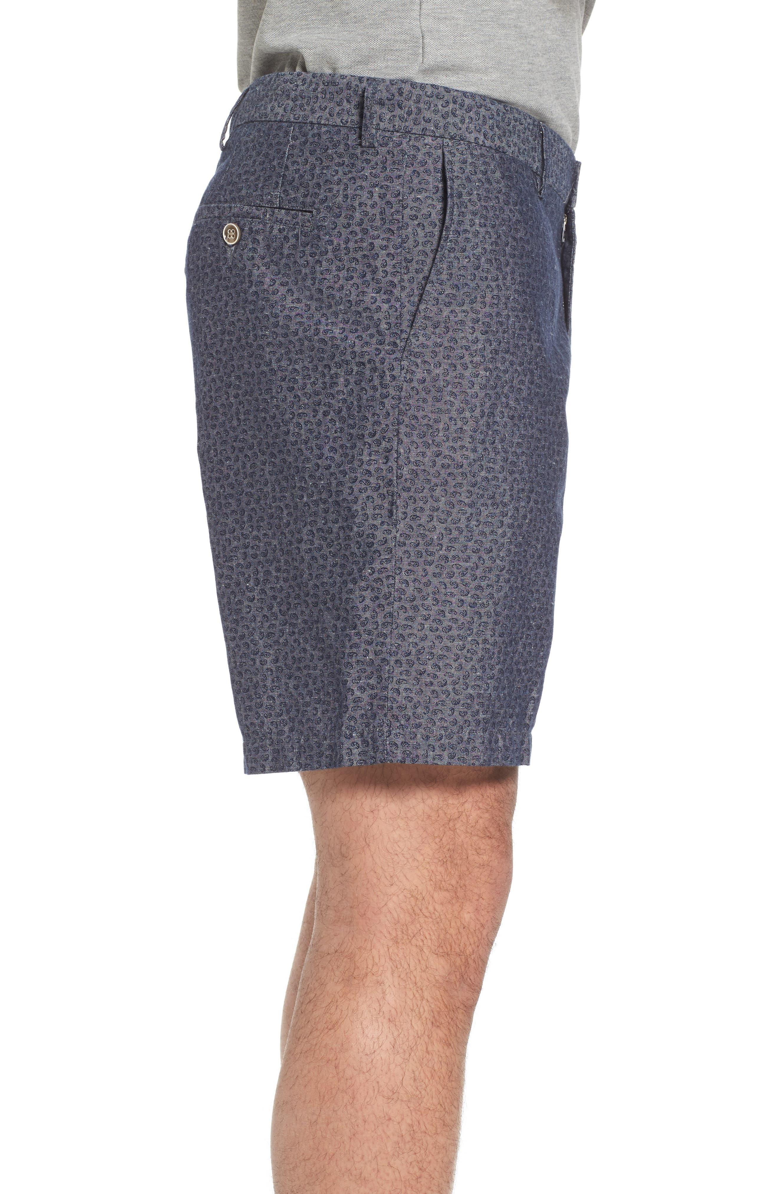 Paisley Chambray Flat Front Shorts,                             Alternate thumbnail 3, color,                             Dark Grey