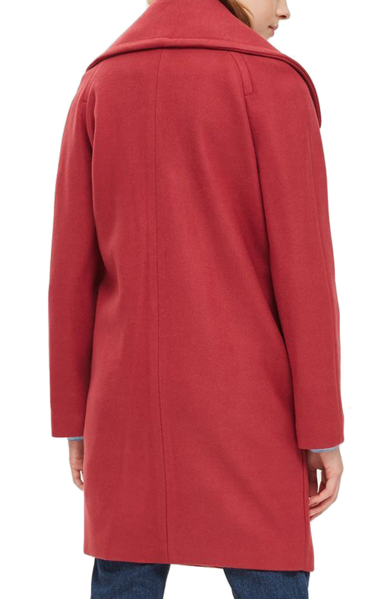 Ring Popper Cocoon Coat,                             Alternate thumbnail 2, color,                             Light Red