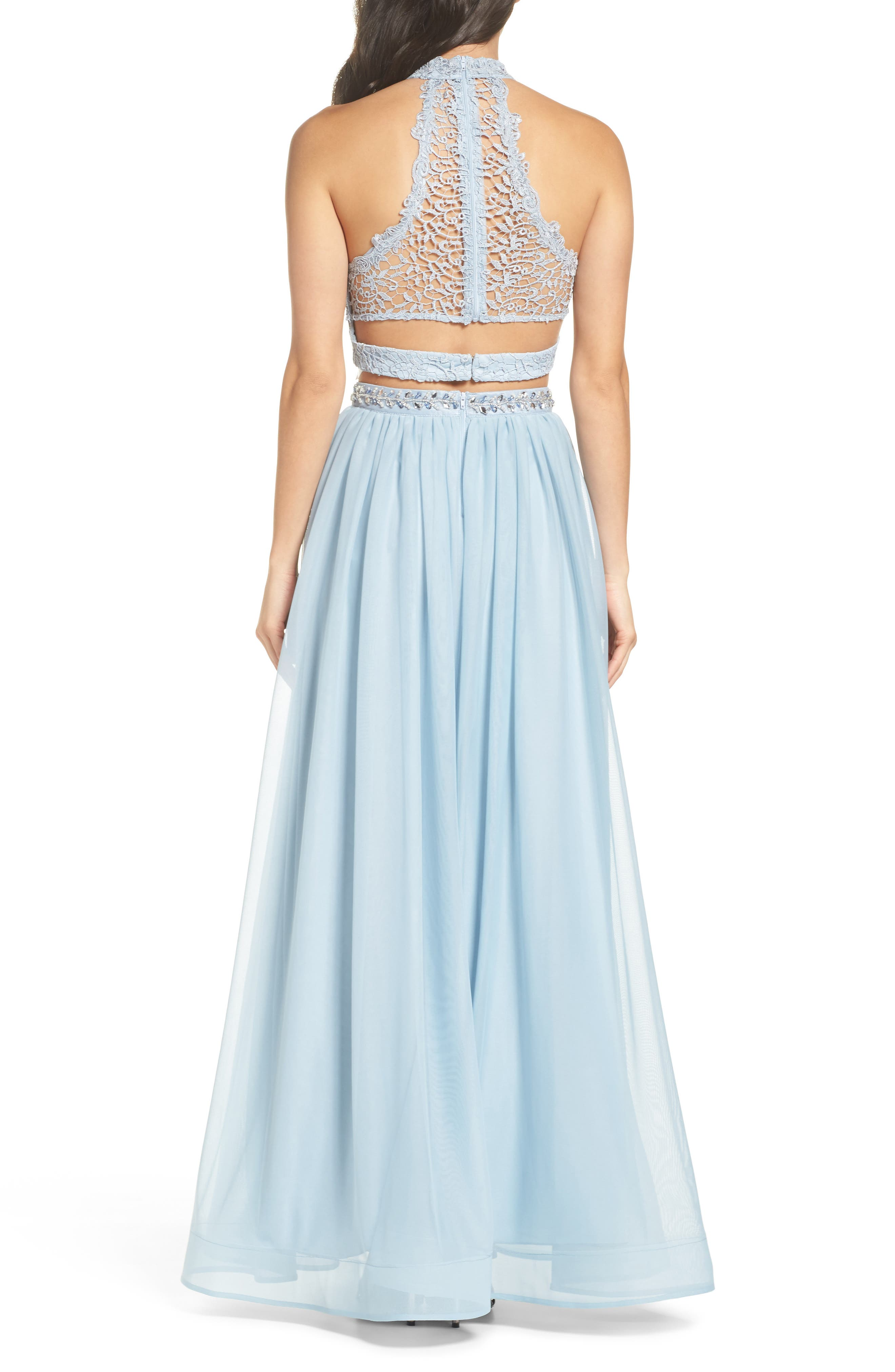 Alternate Image 2  - Sequin Hearts Chemical Lace Two-Piece Halter Gown