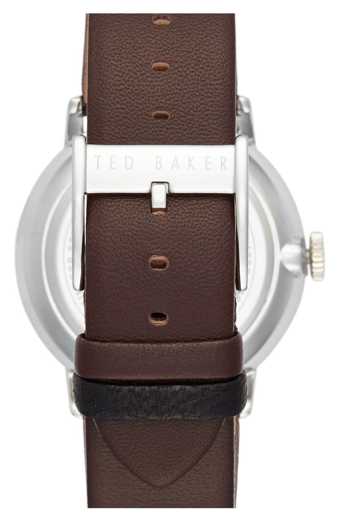Multifunction Leather Strap Watch, 42mm,                             Alternate thumbnail 2, color,                             Brown/ Green