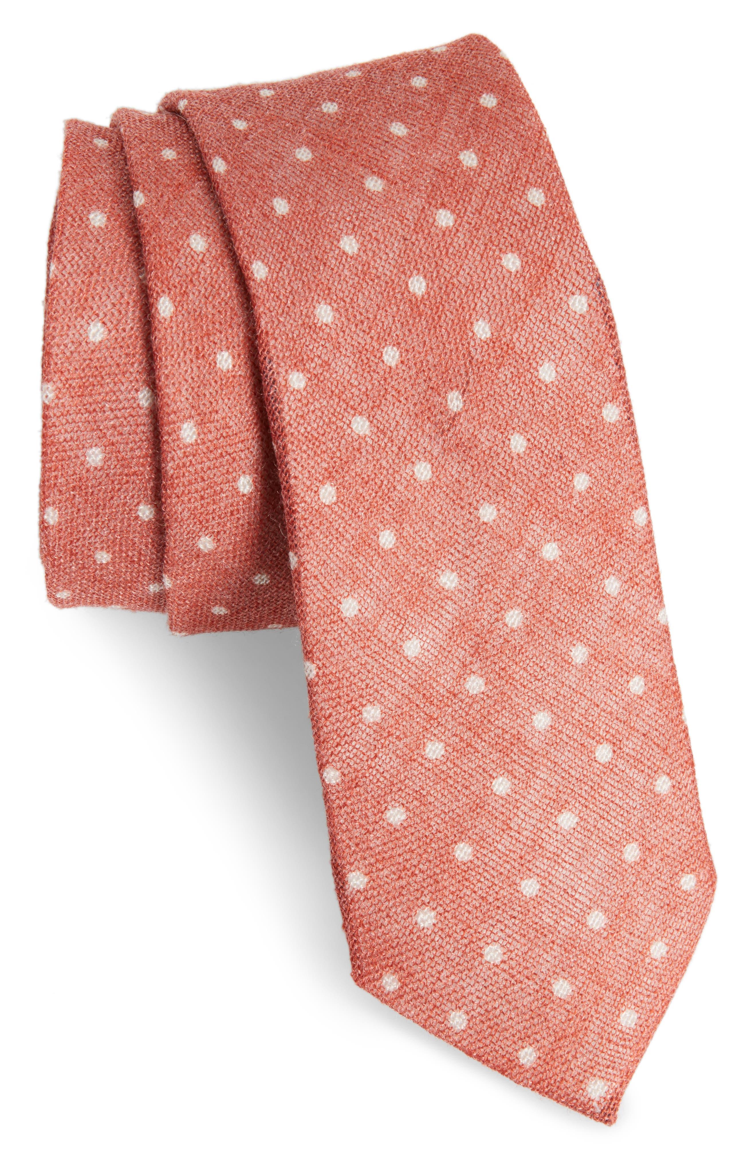 Bradford Dot Tie,                             Main thumbnail 1, color,                             Orange