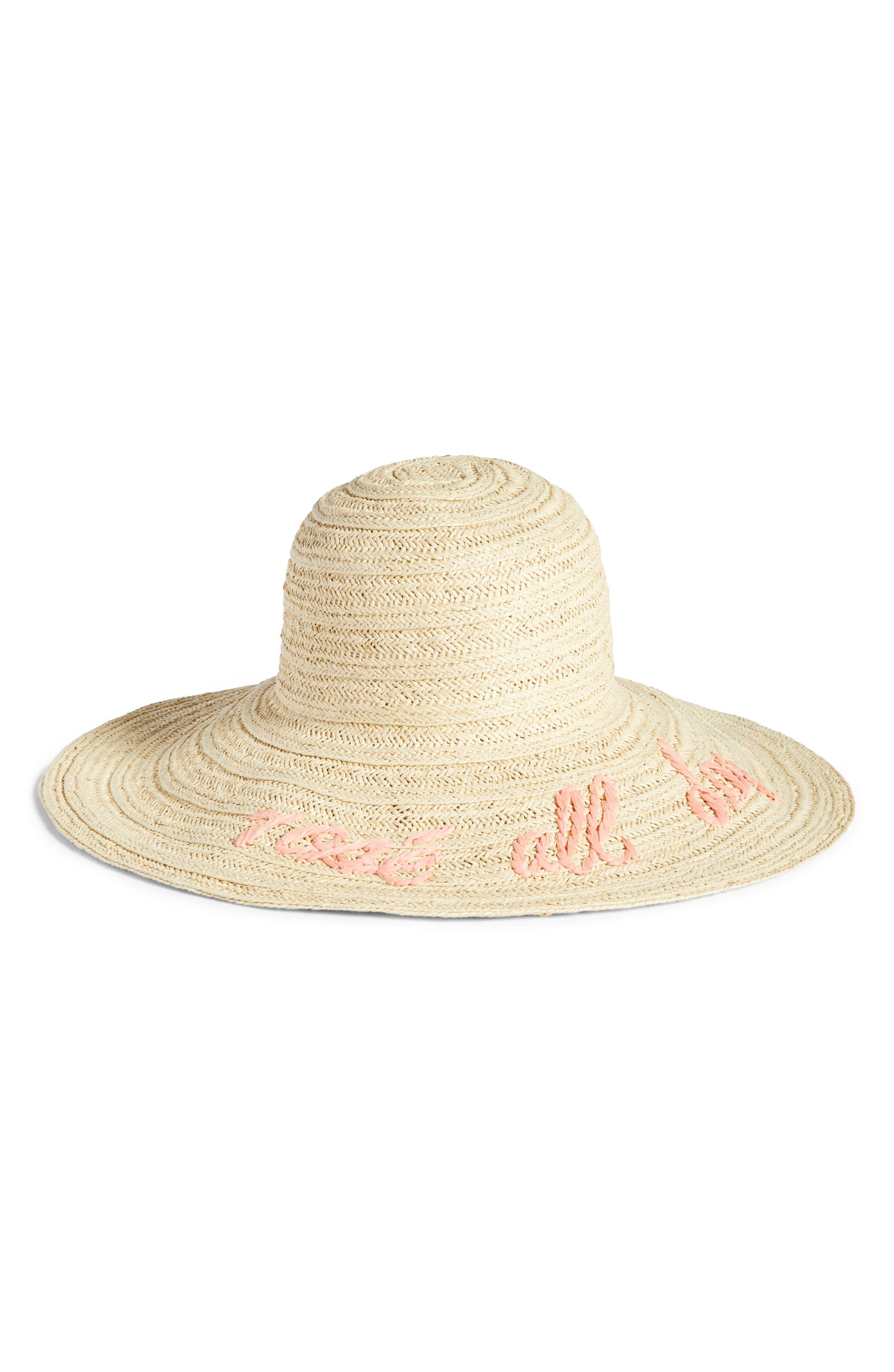 Wordplay Floppy Straw Sun Hat,                             Main thumbnail 1, color,                             Pink Tropics Combo