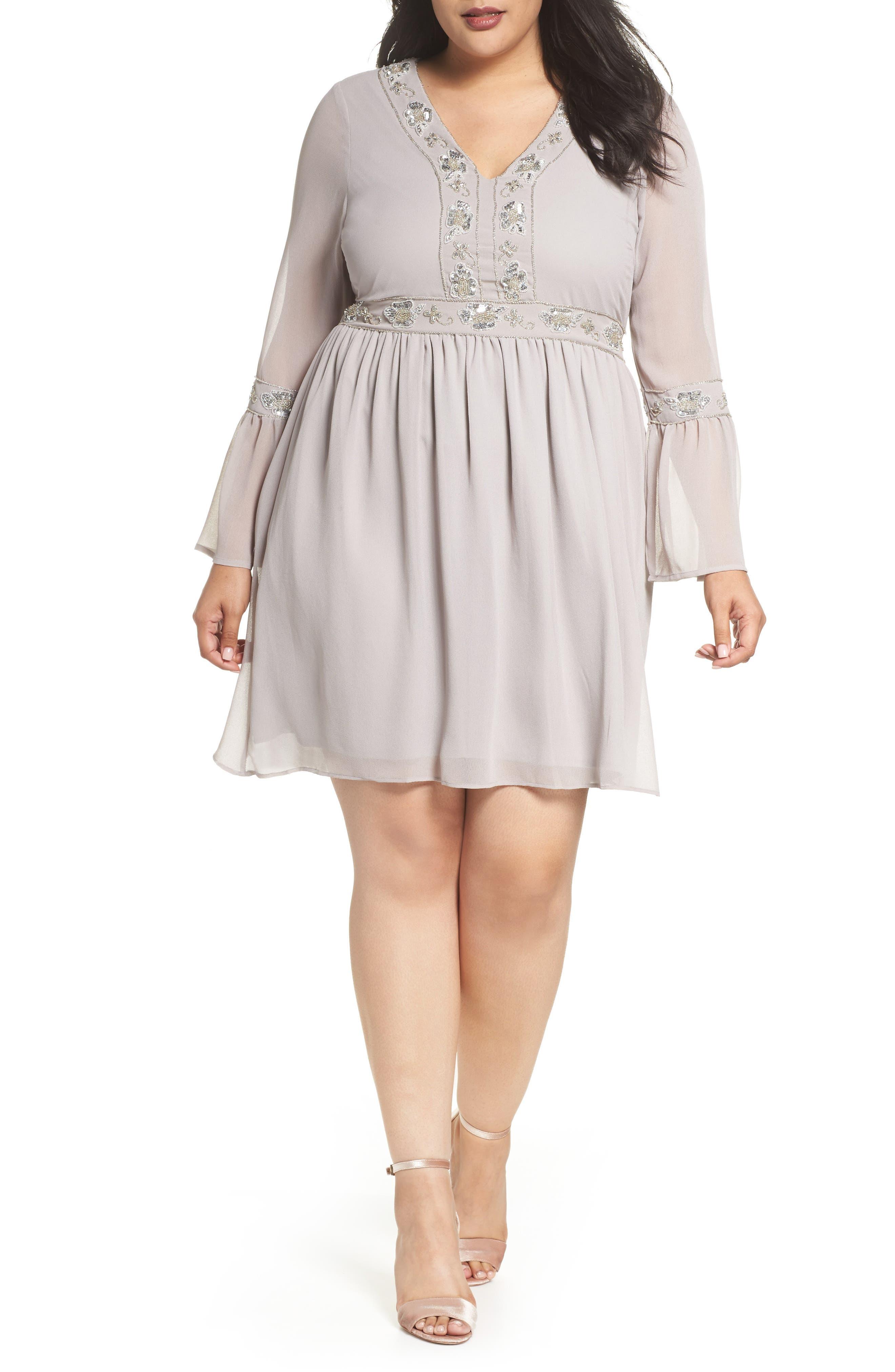 Embellished Chiffon A-Line Dress,                         Main,                         color, Grey