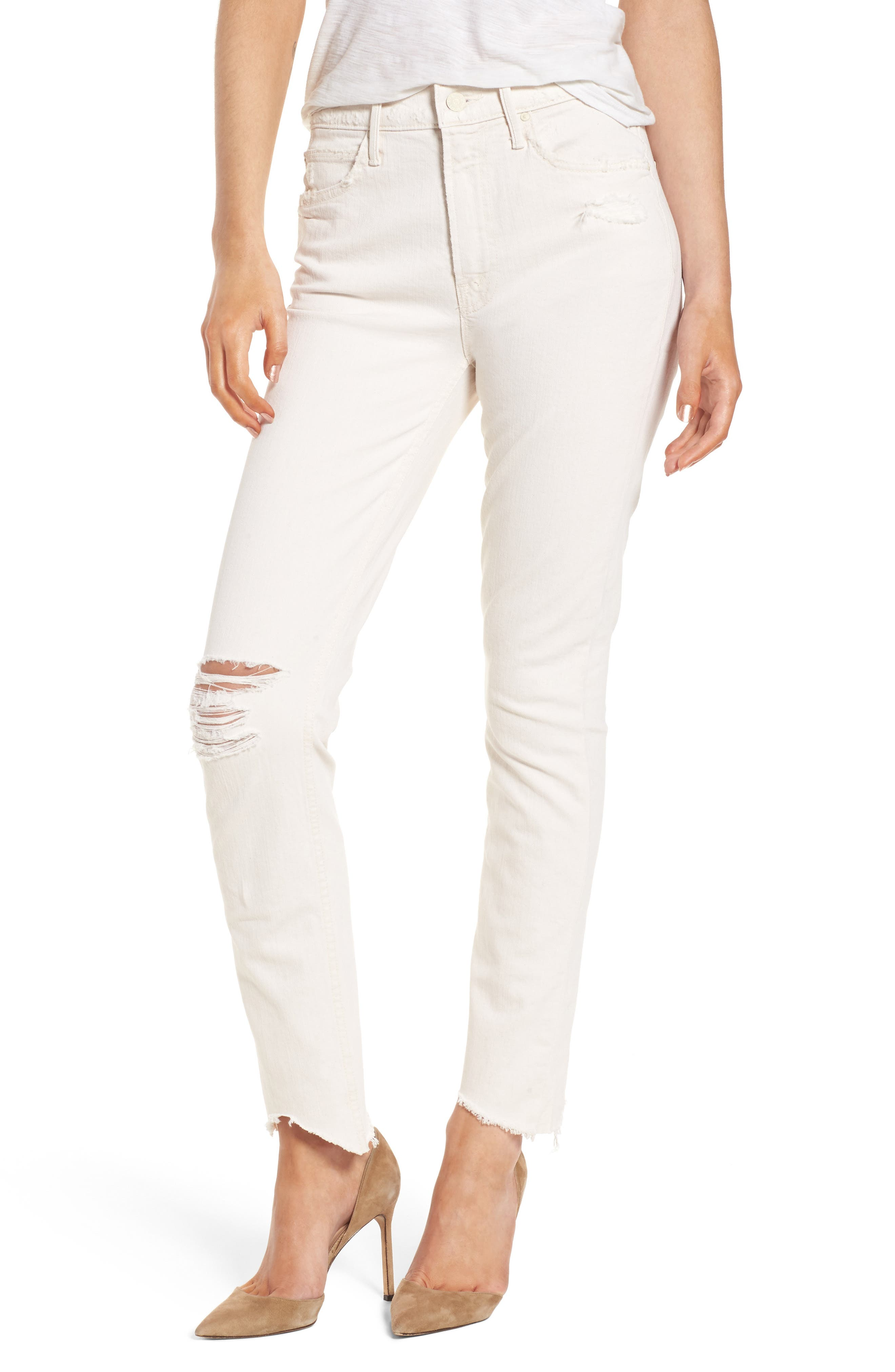 Main Image - MOTHER The Flirt Chew Ankle Straight Leg Jeans (Unnatural Acts)