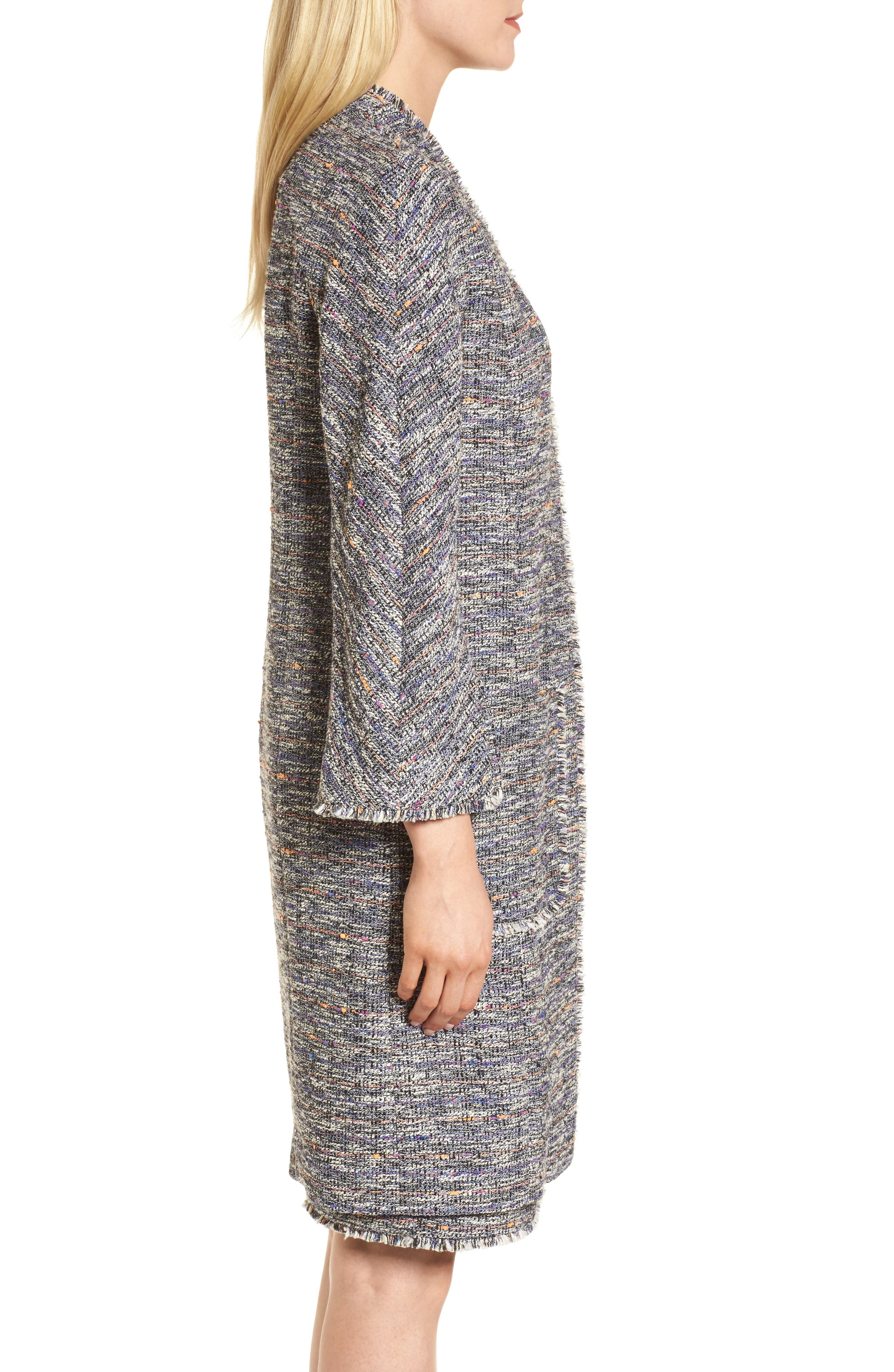 Novelty Tweed Split Sleeve Long Jacket,                             Alternate thumbnail 3, color,                             Black Multi Tweed