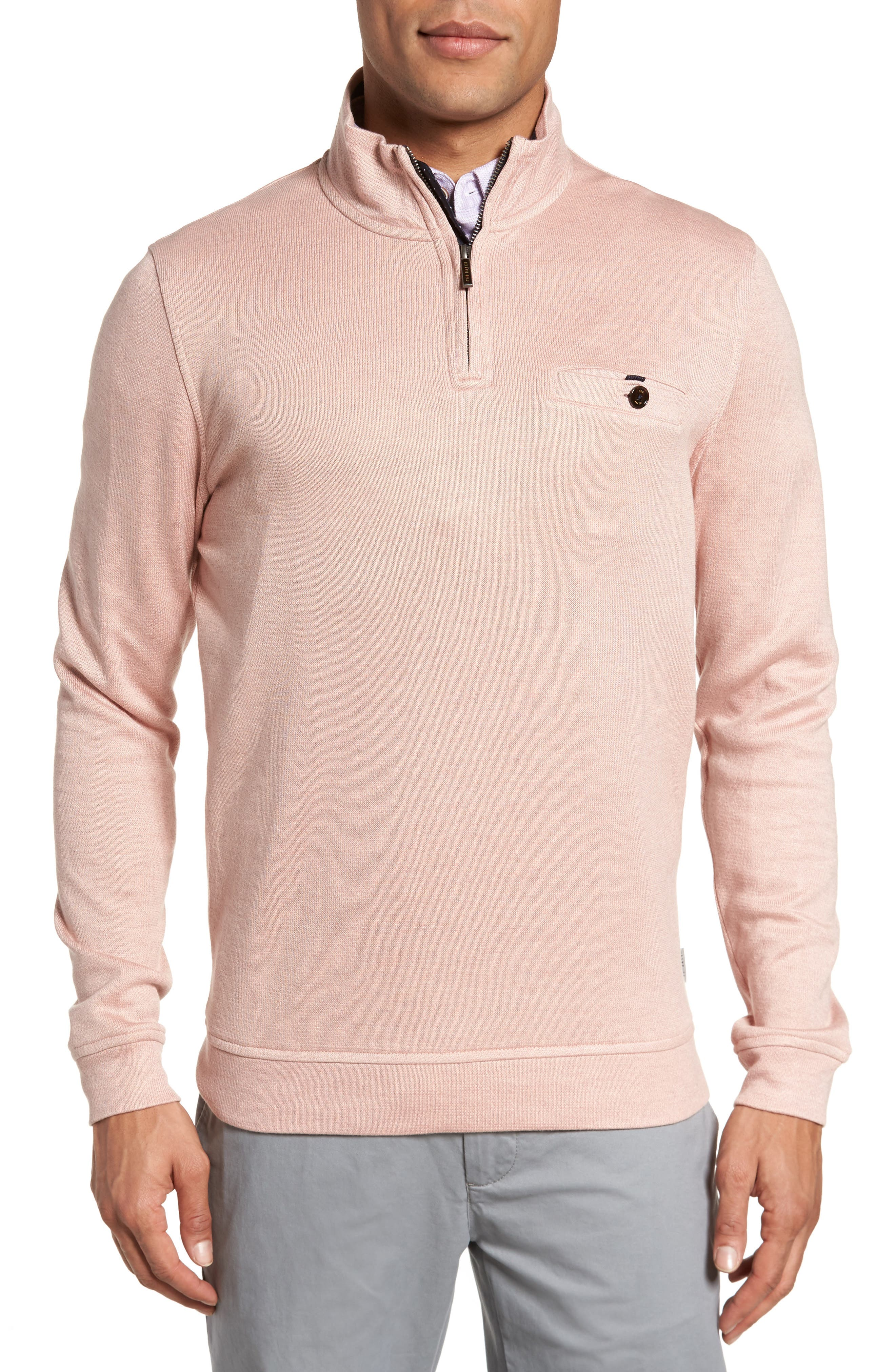 Valerio Quarter Zip Pullover,                             Main thumbnail 1, color,                             Dusky Pink