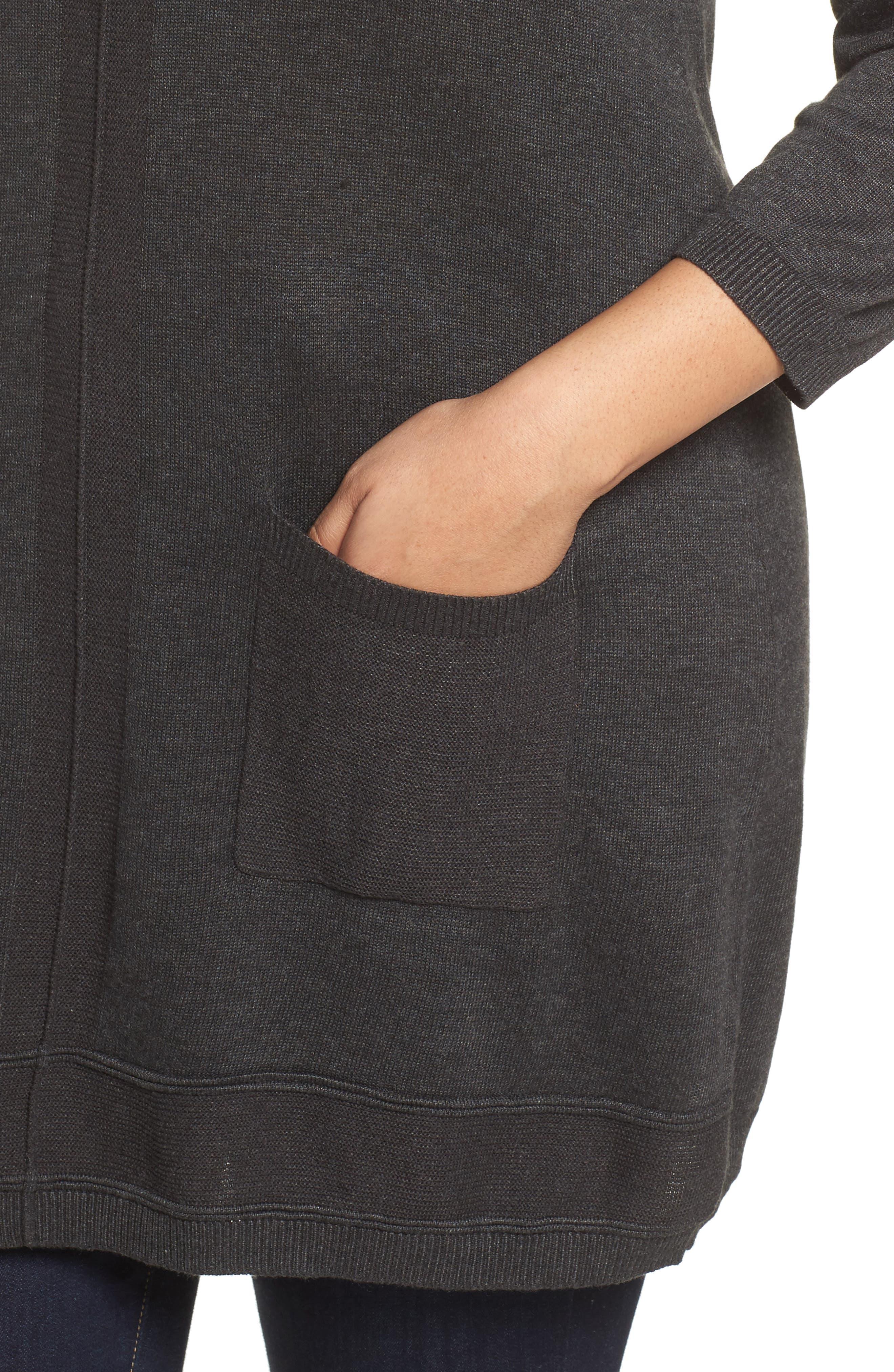 Pocket Tunic Sweater,                             Alternate thumbnail 4, color,                             Grey