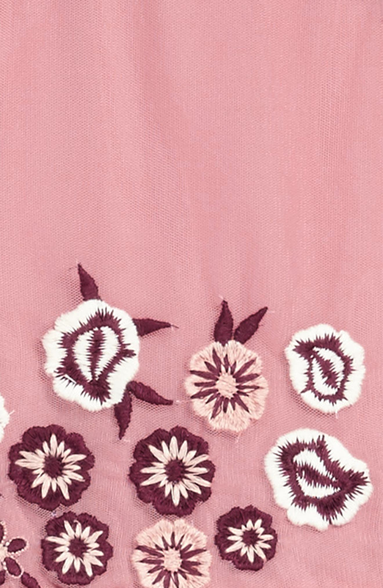 Flower Embroidered Dress,                             Alternate thumbnail 3, color,                             Pink Nostalgia