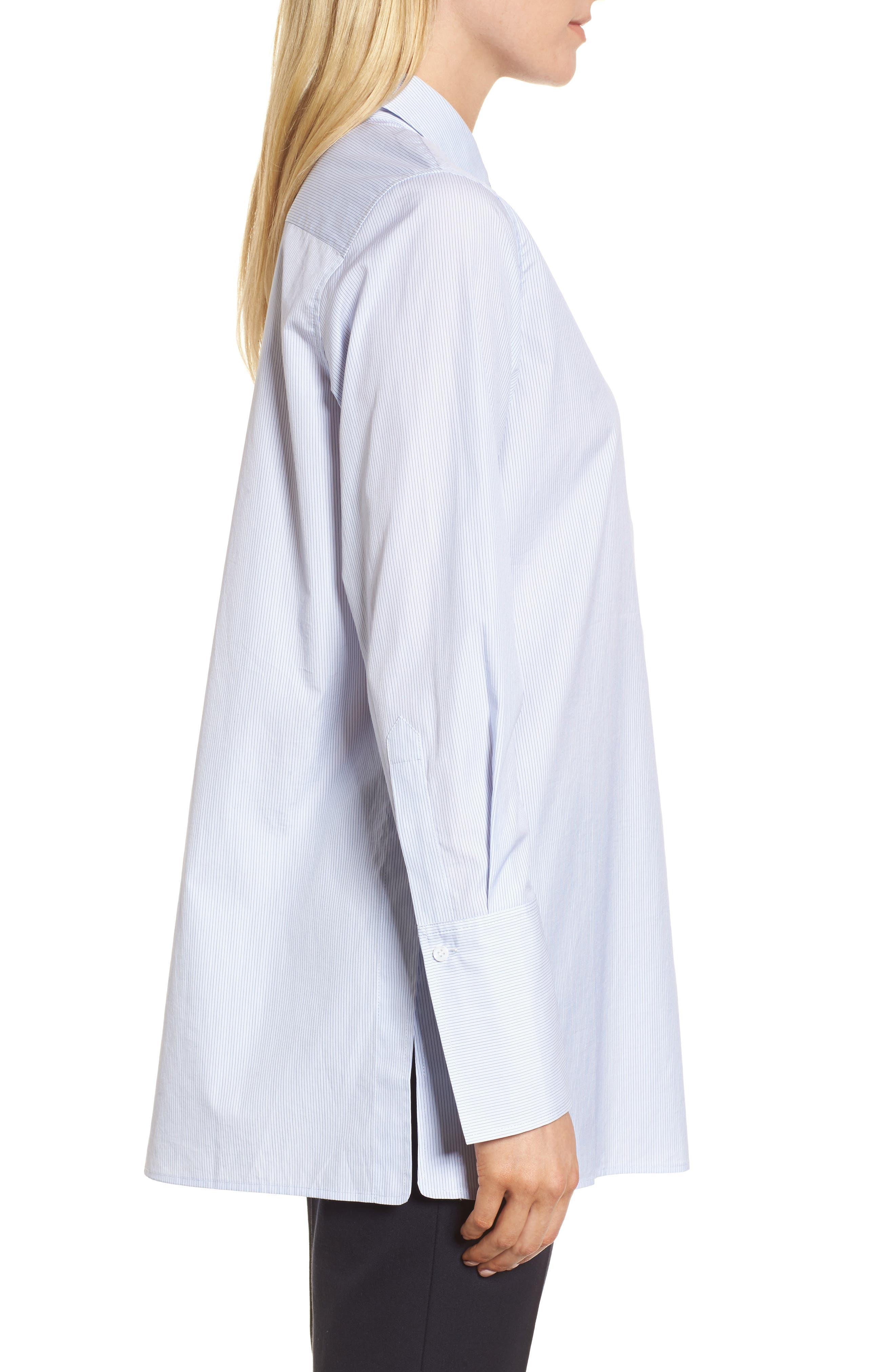 Popover Poplin Shirt,                             Alternate thumbnail 3, color,                             Blue- White Stripe