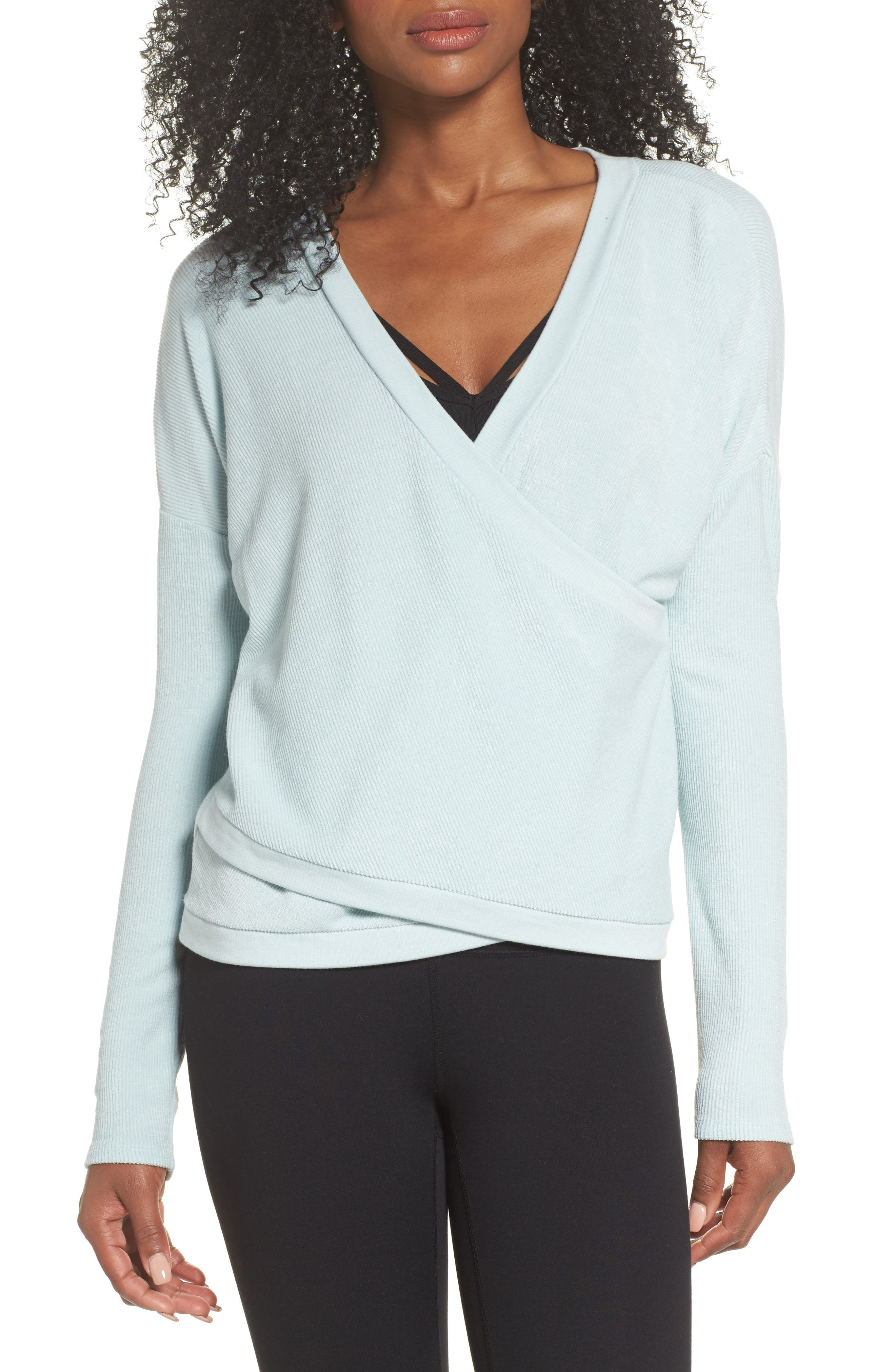 For the Love Faux Wrap Top,                             Main thumbnail 1, color,                             Teal Surf