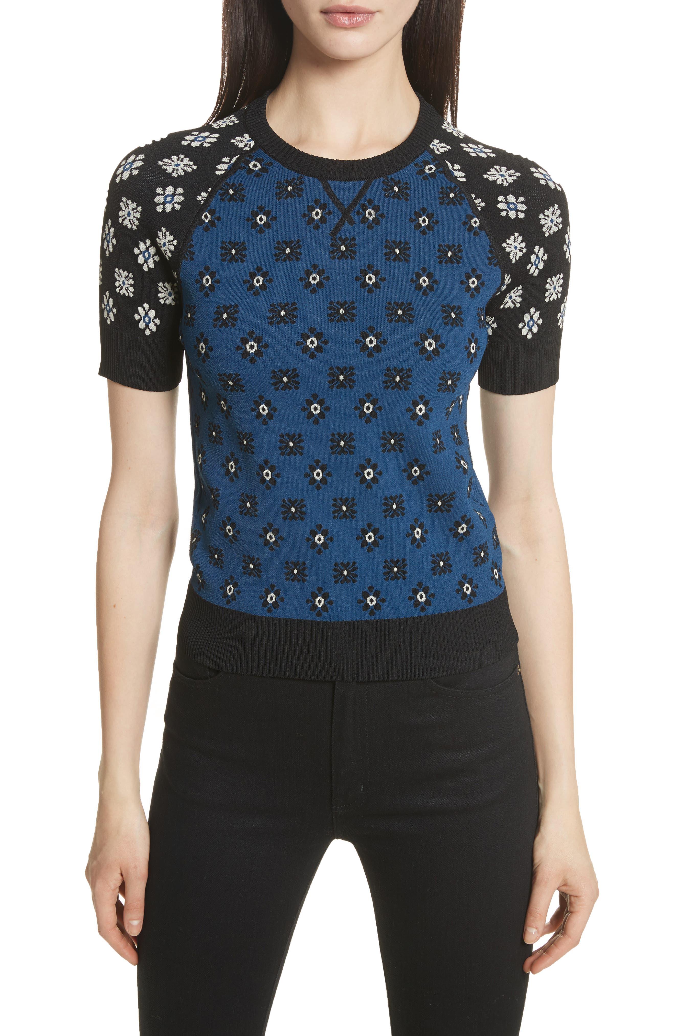 Contrast Sleeve Floral Print Sweater,                         Main,                         color, Cobalt