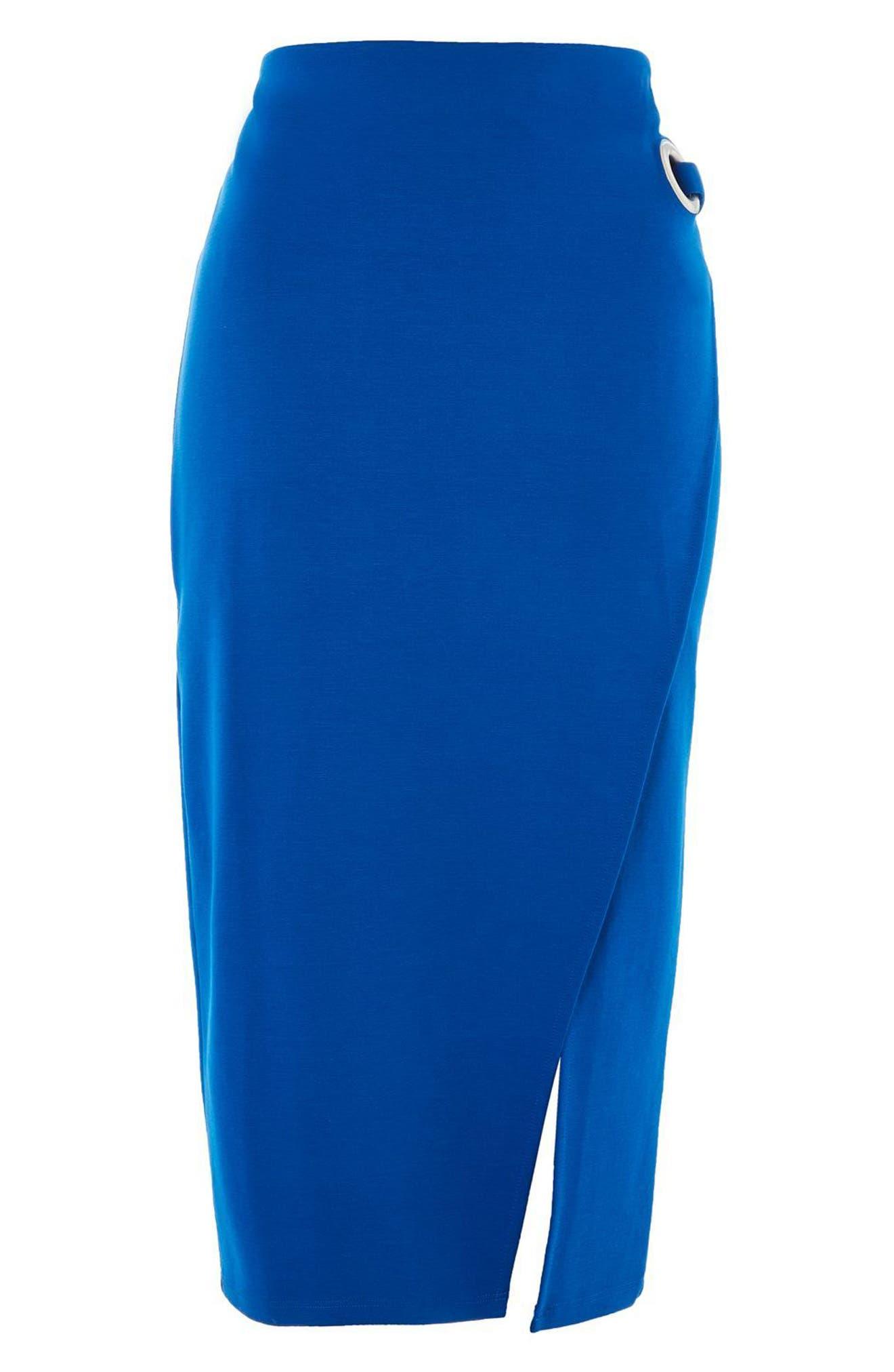 Eyelet Detail Wrap Jersey Skirt,                             Alternate thumbnail 4, color,                             Cobalt