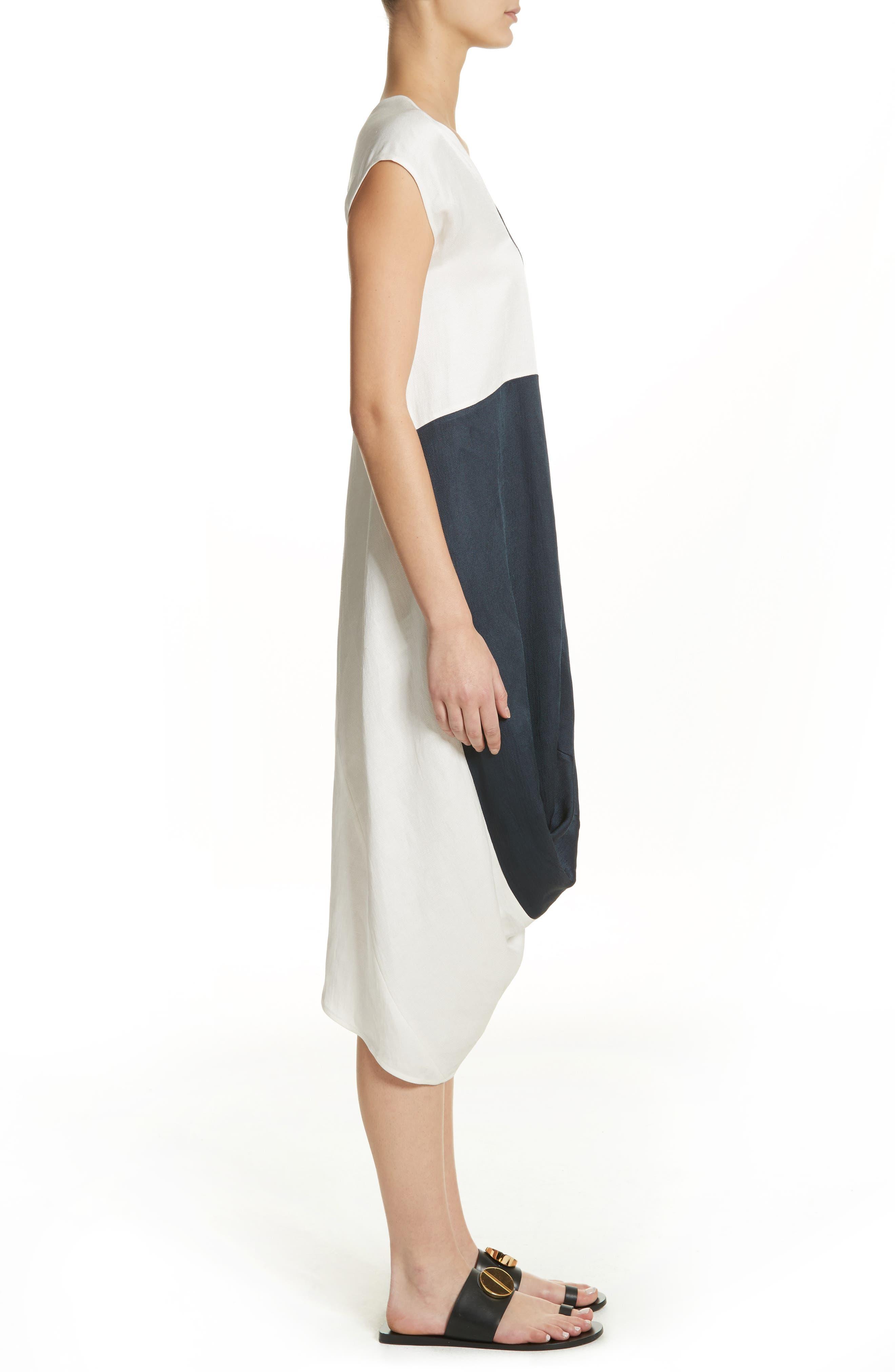 Colorblock Drape Dress,                             Alternate thumbnail 3, color,                             Ink/ White Pepper