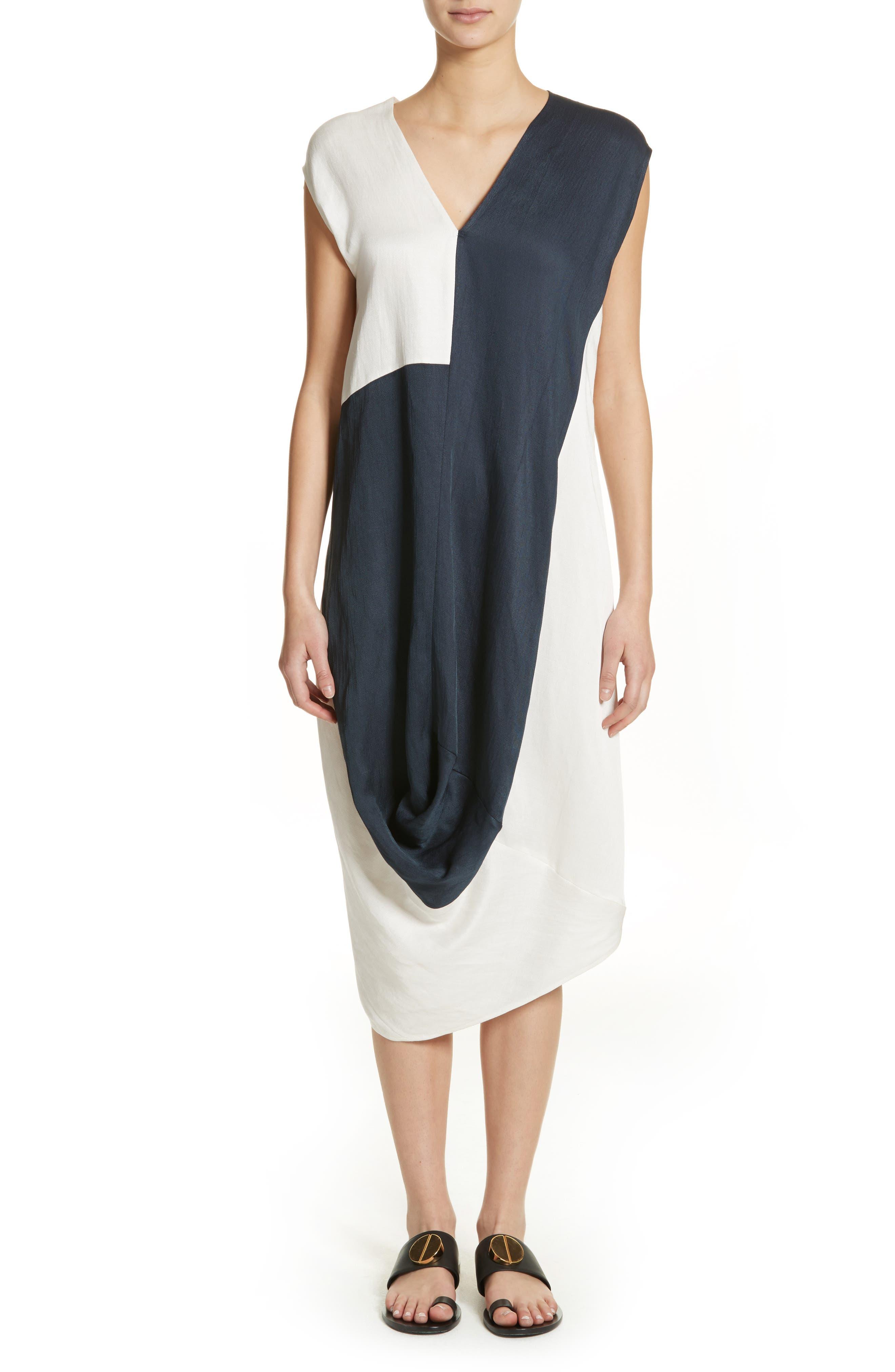 Colorblock Drape Dress,                         Main,                         color, Ink/ White Pepper