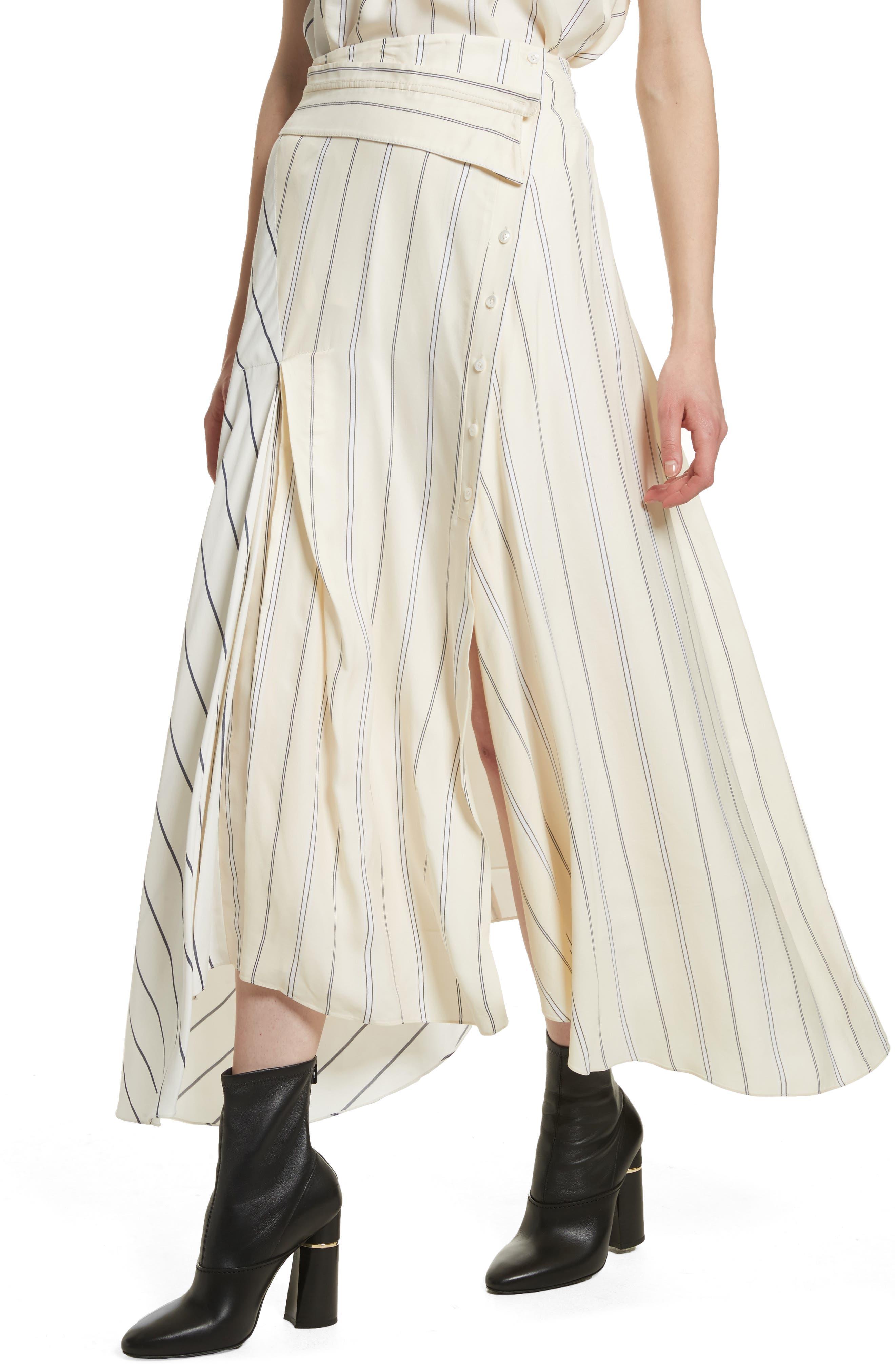 Mixed Stripe Asymmetrical Skirt,                             Alternate thumbnail 4, color,                             Ivory/ Black