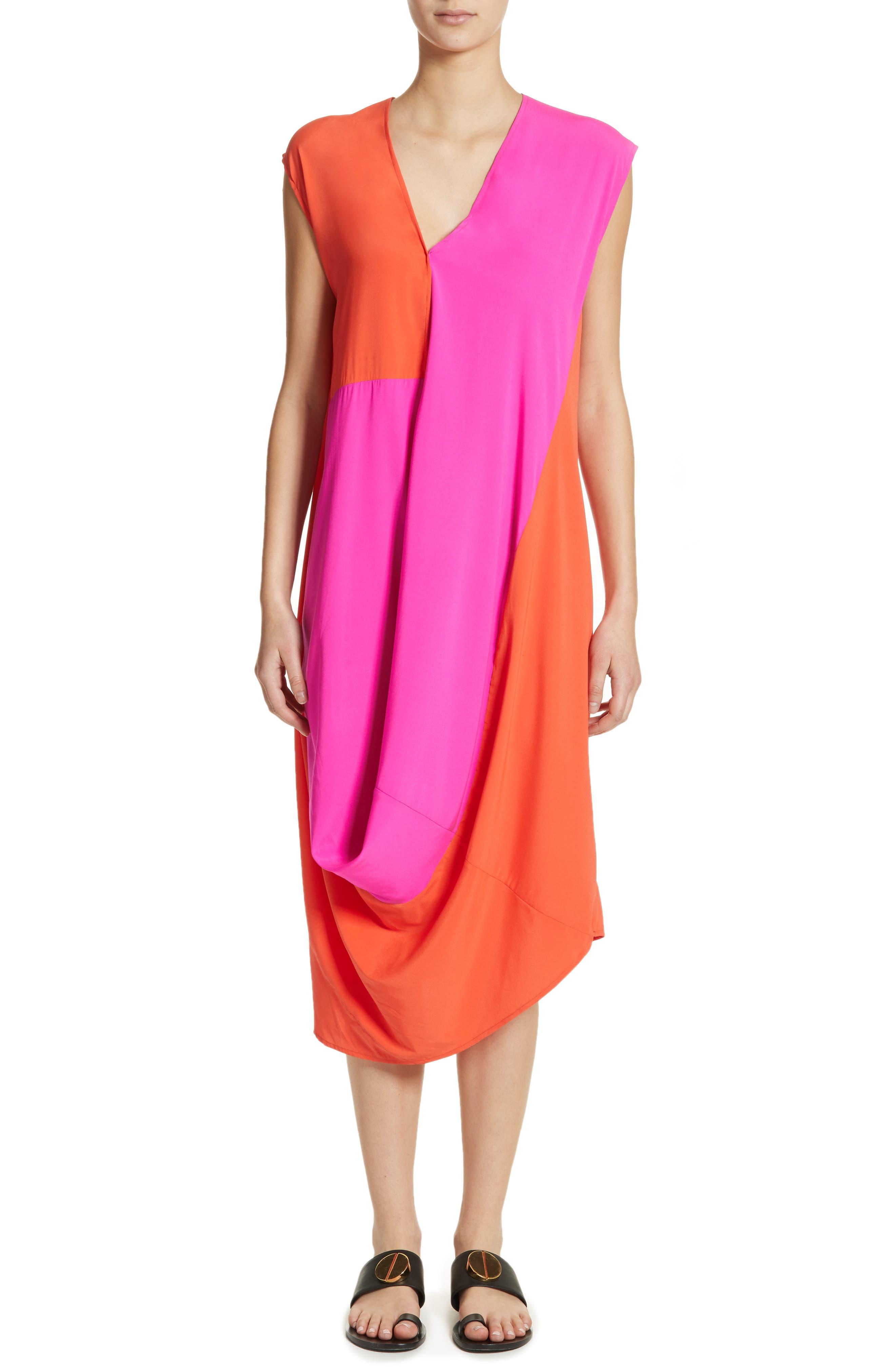 Colorblock Drape Silk Blend Dress,                         Main,                         color, Fuchsia/ Neon Orange