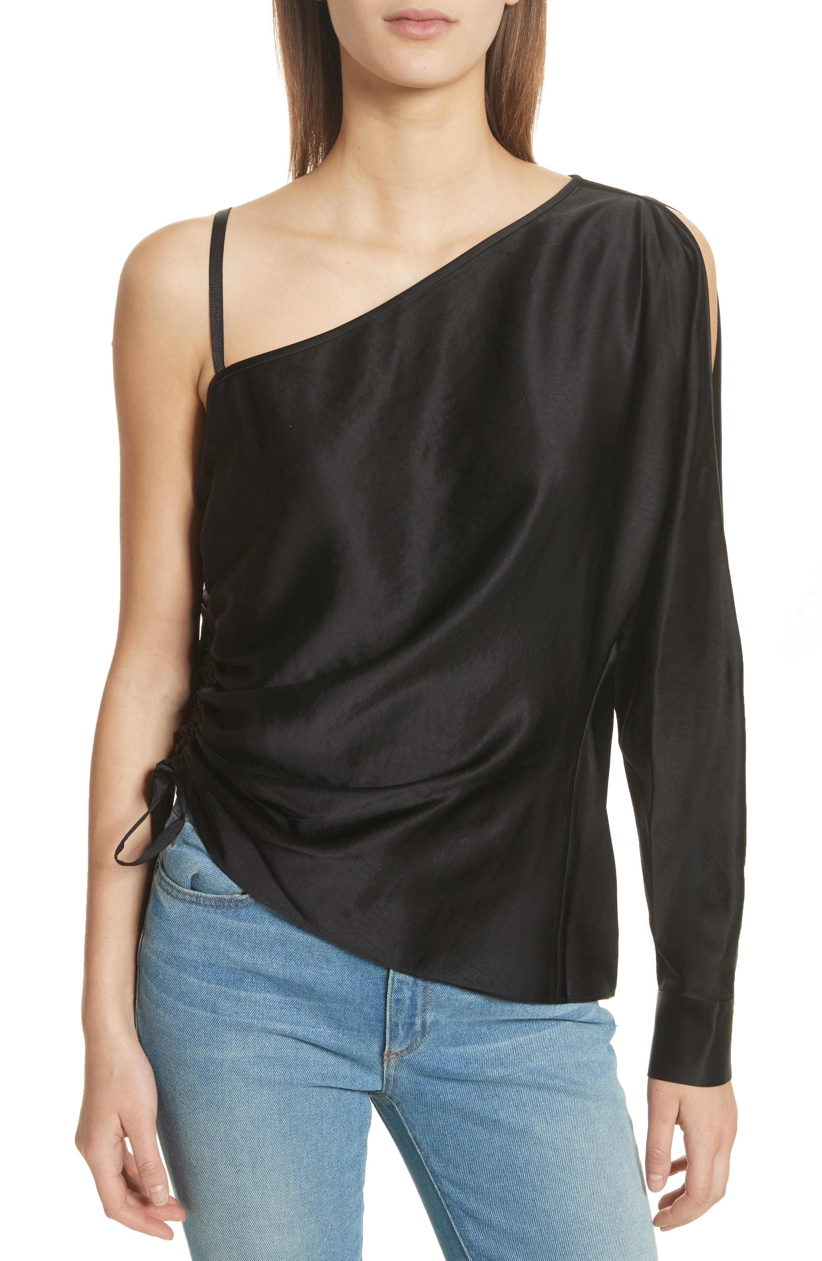 Satin One-Sleeve Blouse,                         Main,                         color, Black