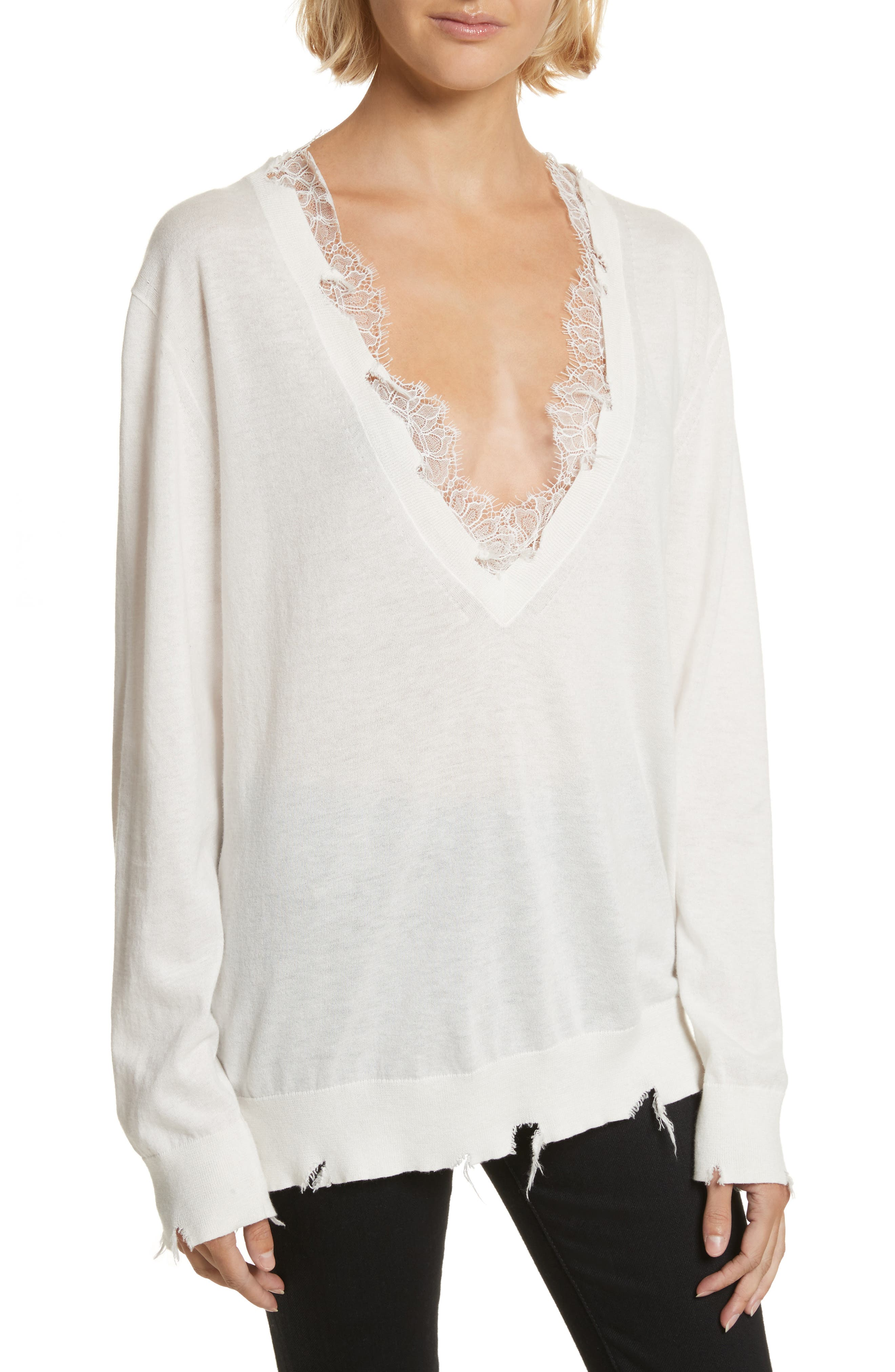 Pao Lace Trim Destroyed Sweater,                         Main,                         color, Ecr01