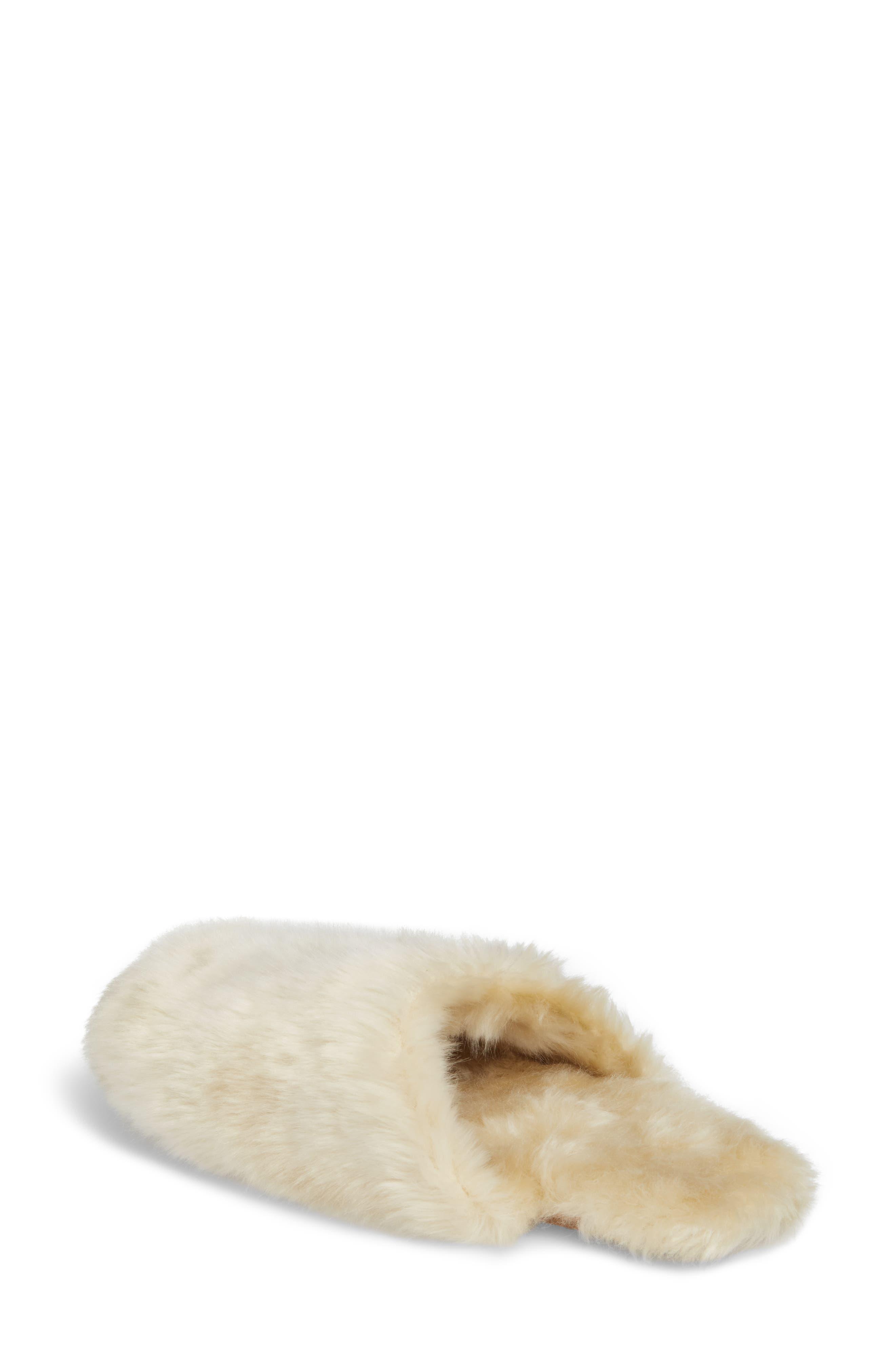 Faux Fur Slipper,                             Alternate thumbnail 2, color,                             Natural