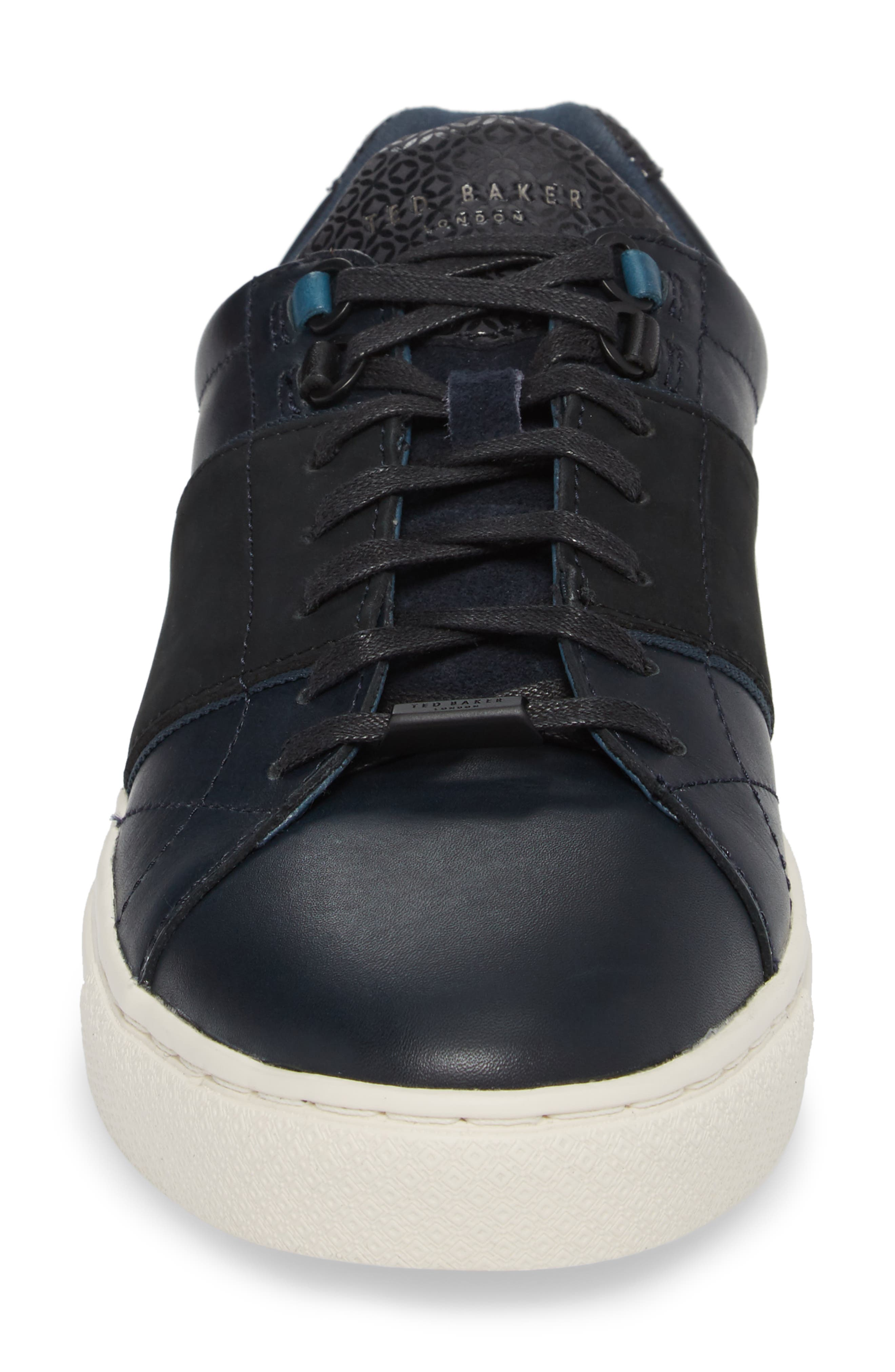 Ted Baker Quana Low Top Sneaker,                             Alternate thumbnail 4, color,                             Dark Blue Leather