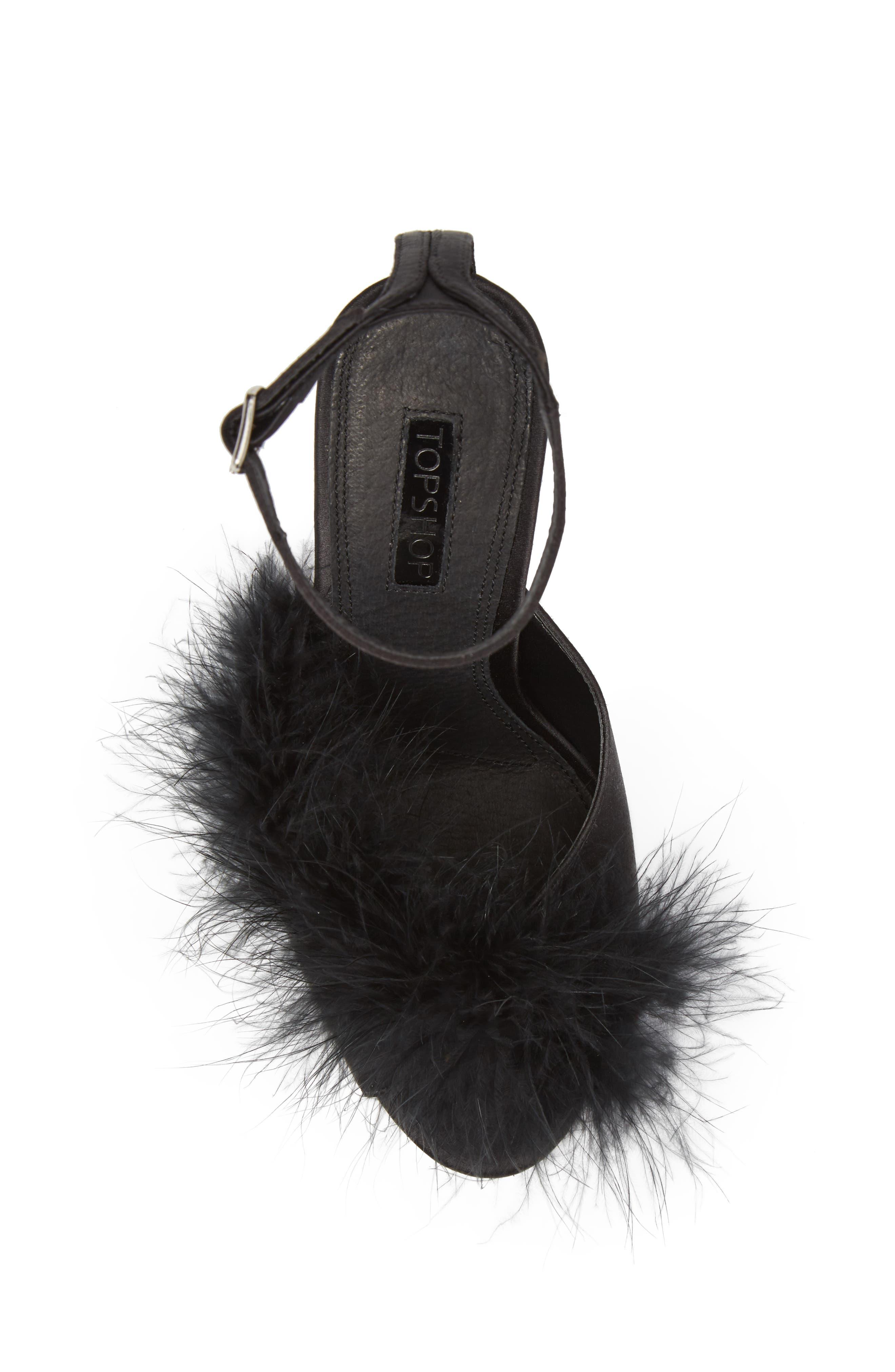 Roar Feather Sandal,                             Alternate thumbnail 5, color,                             Black