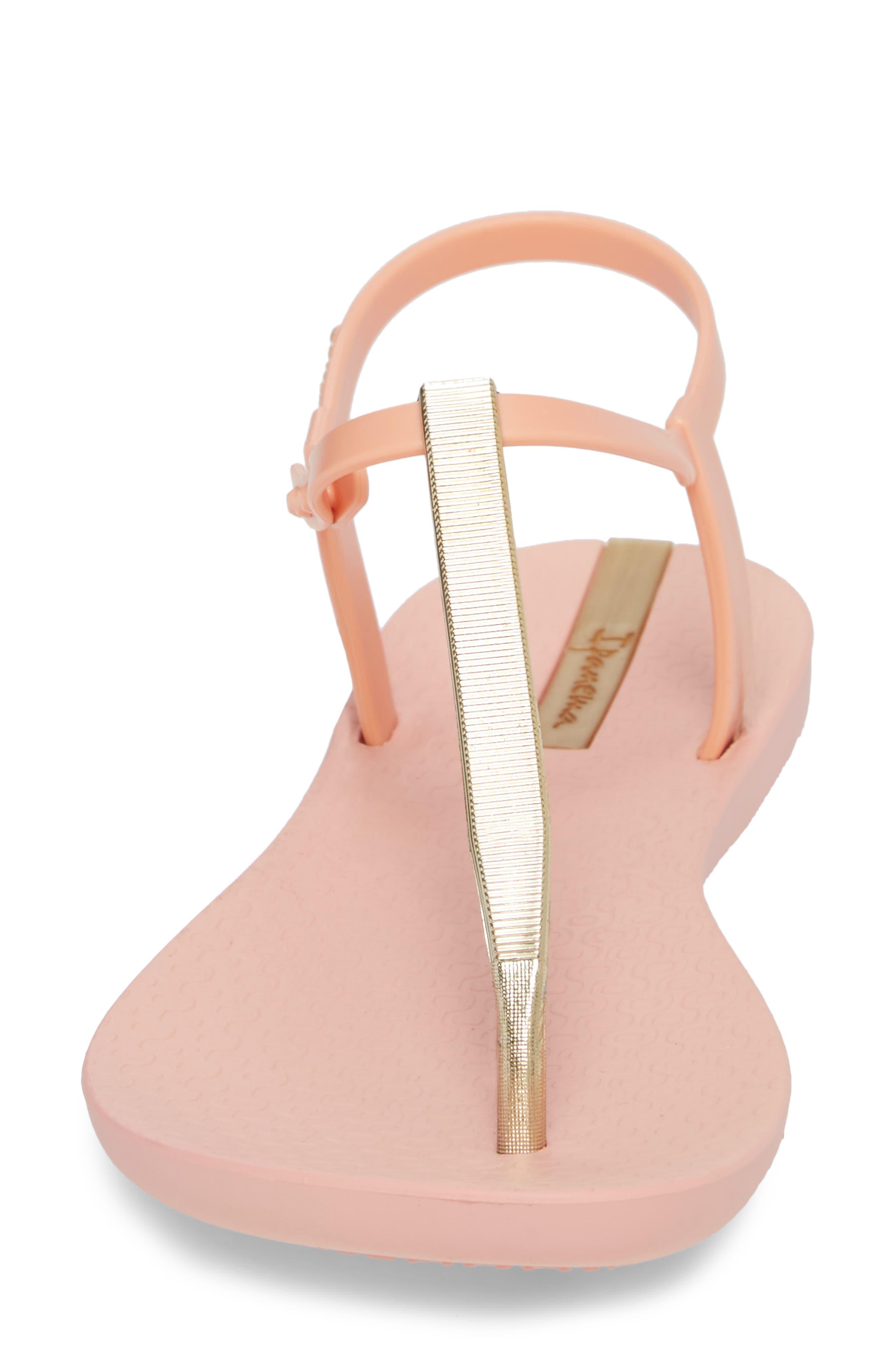 Bandeau Sandal,                             Alternate thumbnail 4, color,                             Pink/ Gold