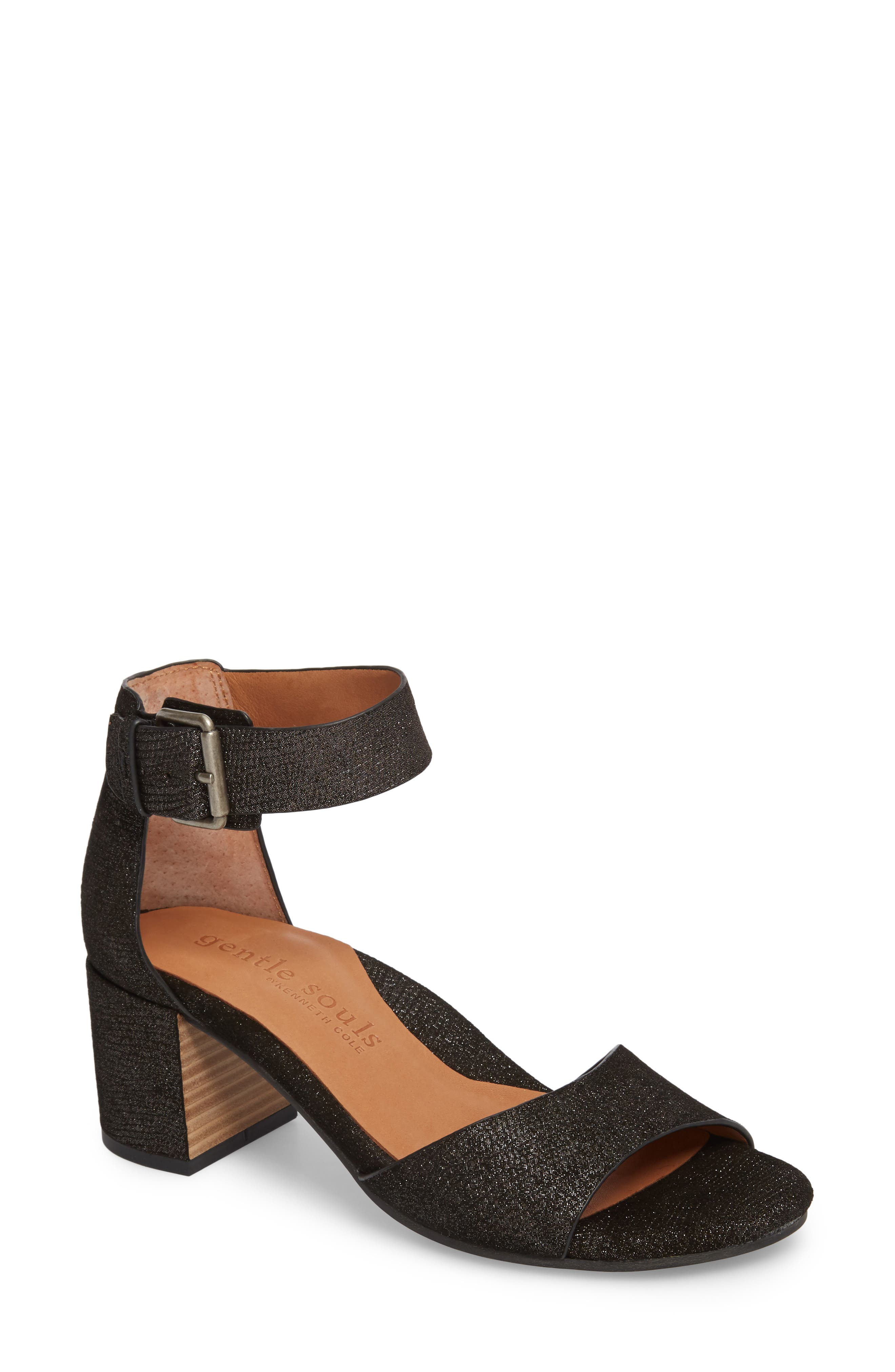 by Kenneth Cole Christa Block Heel Sandal,                         Main,                         color, Black Embossed Leather