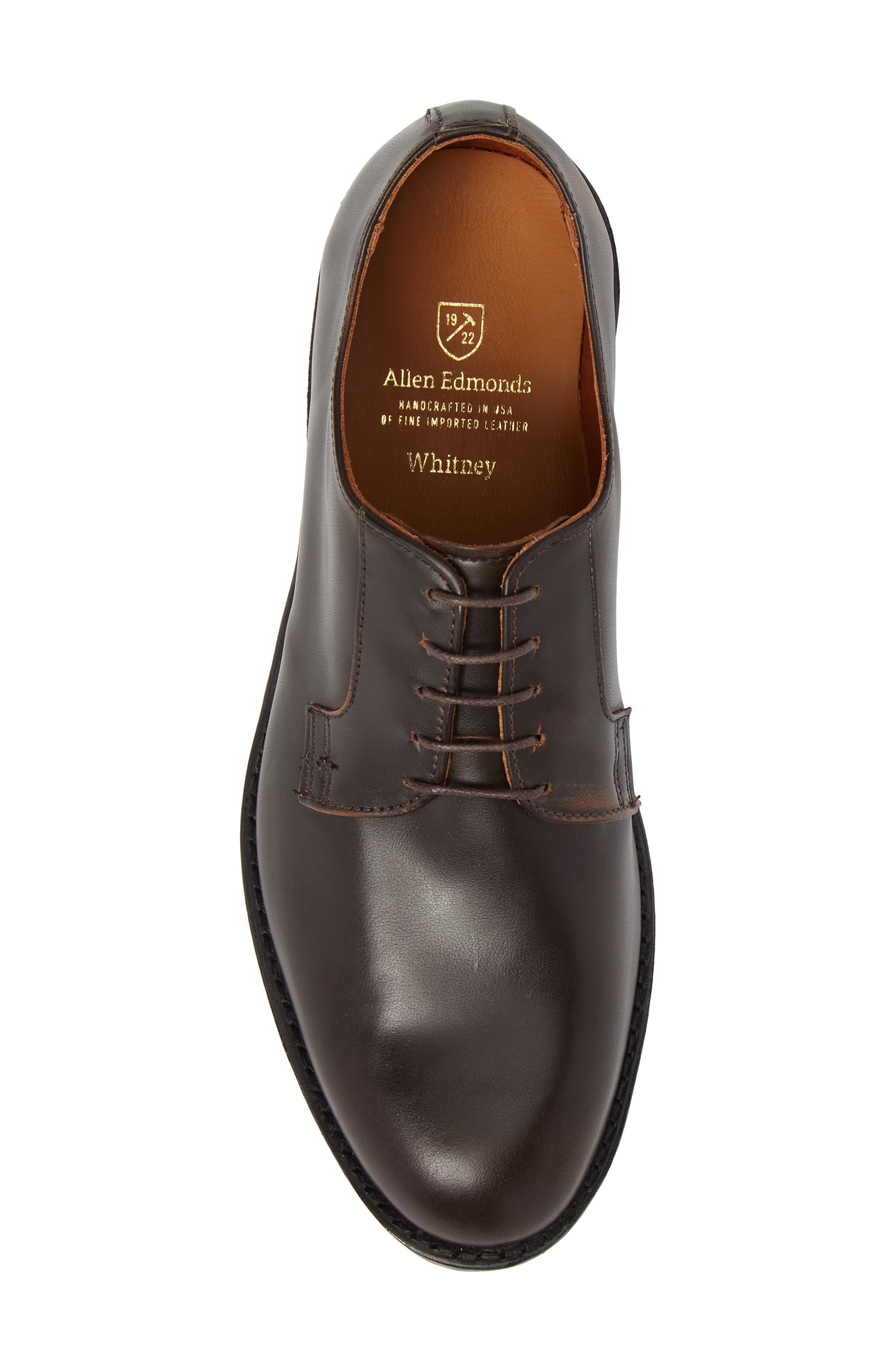 Whitney Plain Toe Derby,                             Alternate thumbnail 5, color,                             Brown Leather