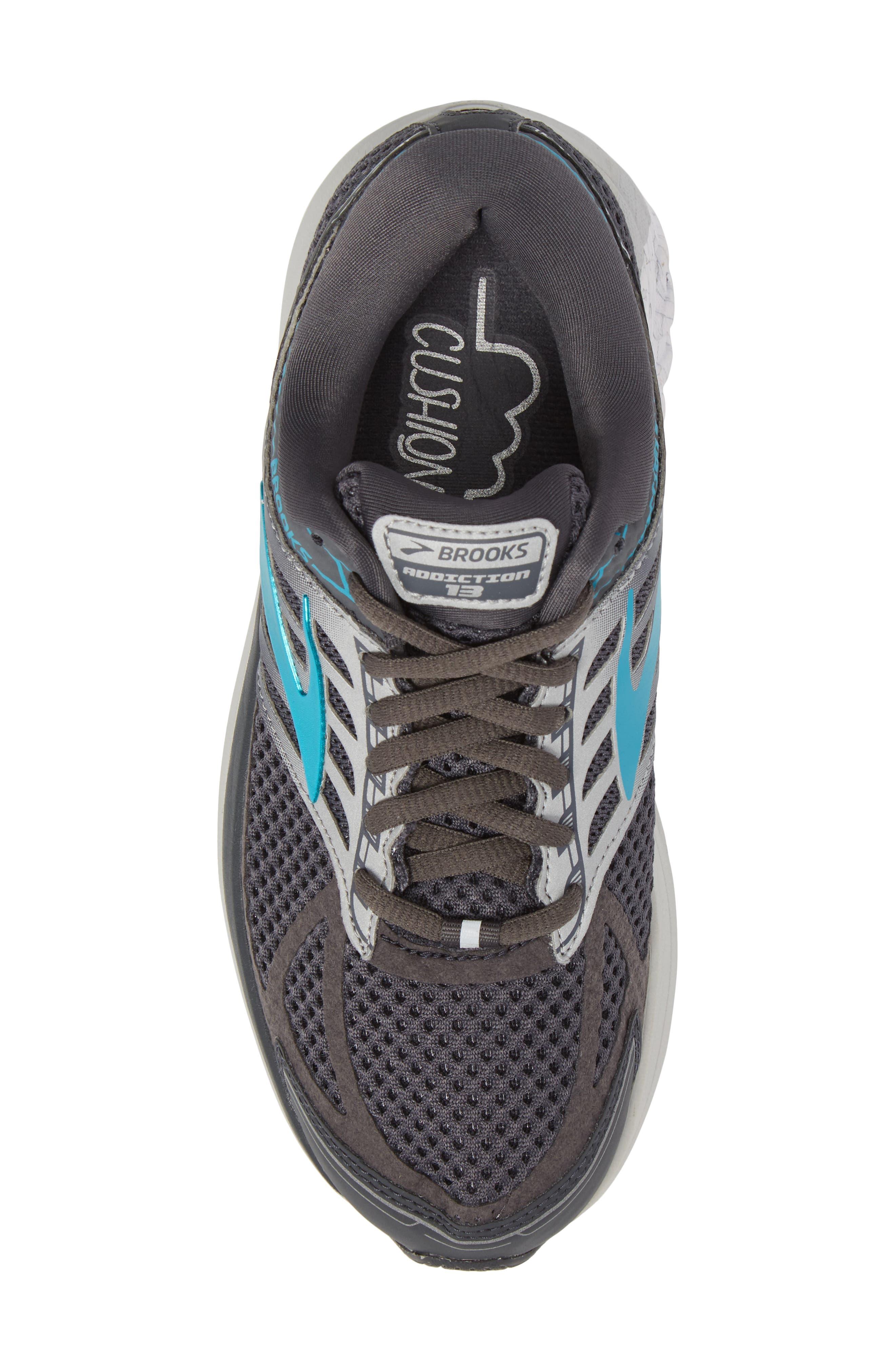 Addiction 13 Running Shoe,                             Alternate thumbnail 5, color,                             Ebony/ Silver/ Pagoda Blue