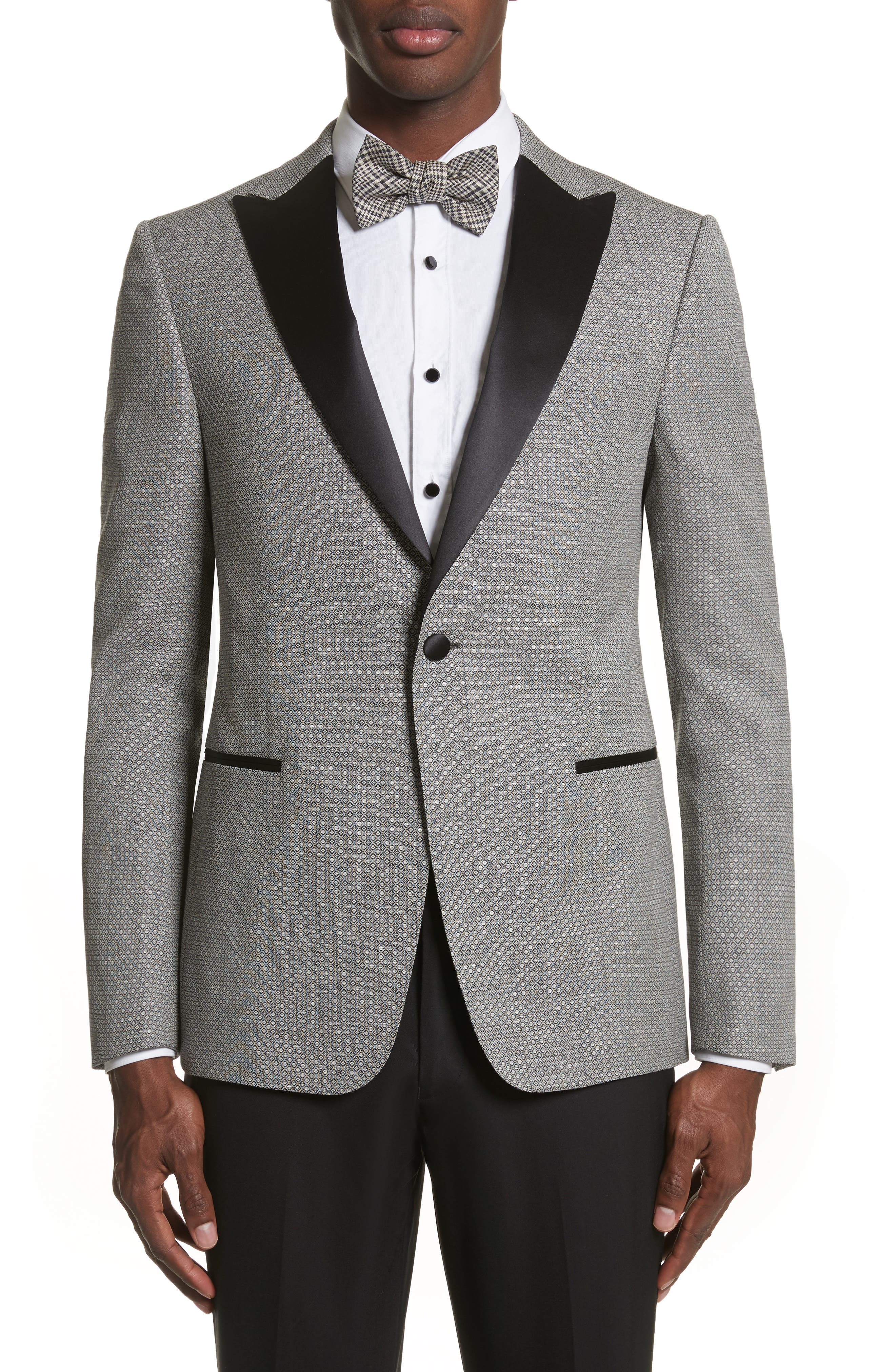 Classic Fit Stretch Wool & Linen Dinner Jacket,                         Main,                         color, Dark Grey Check
