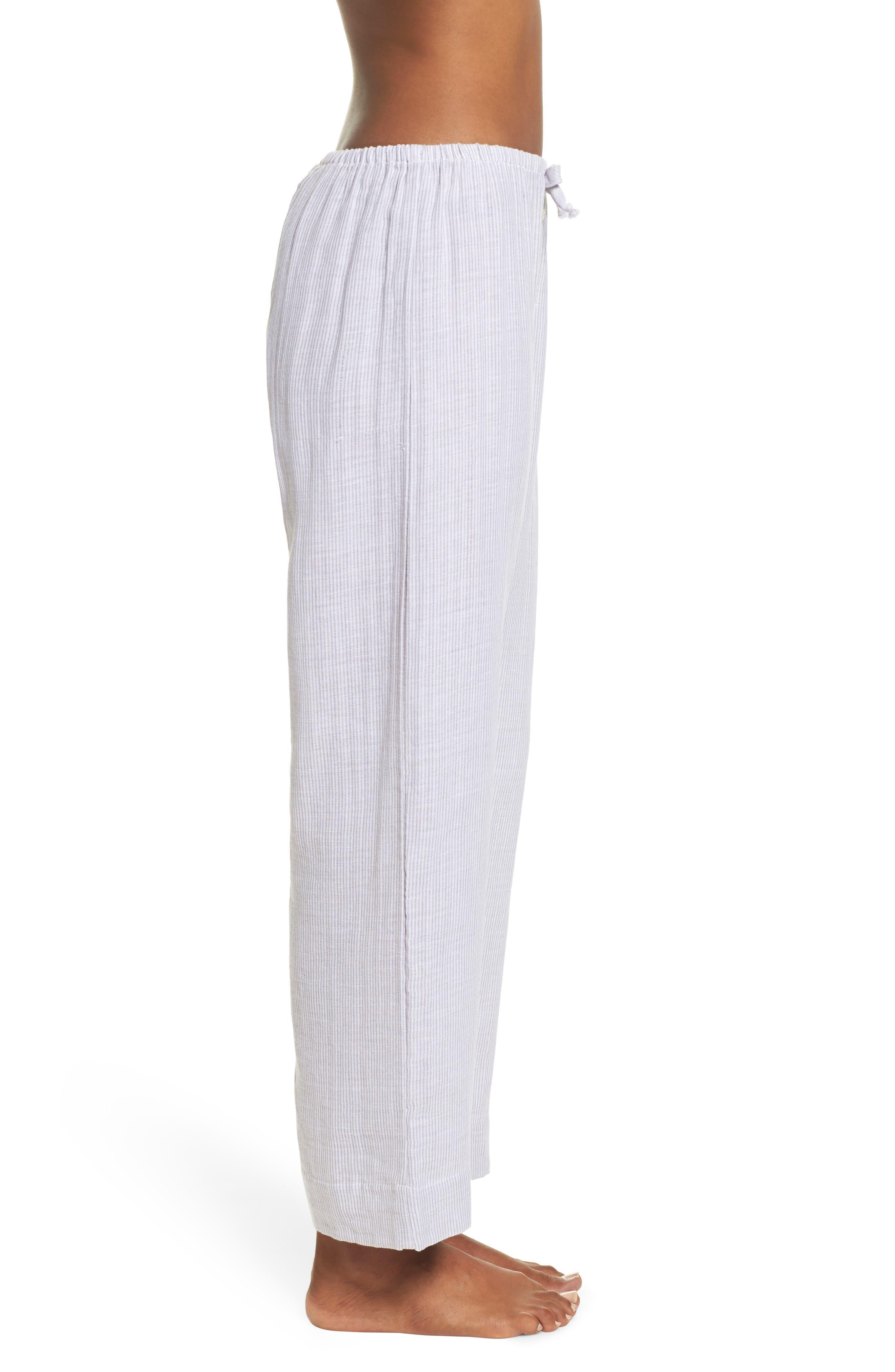 Stripe Pajama Pants,                             Alternate thumbnail 3, color,                             Grey/ White