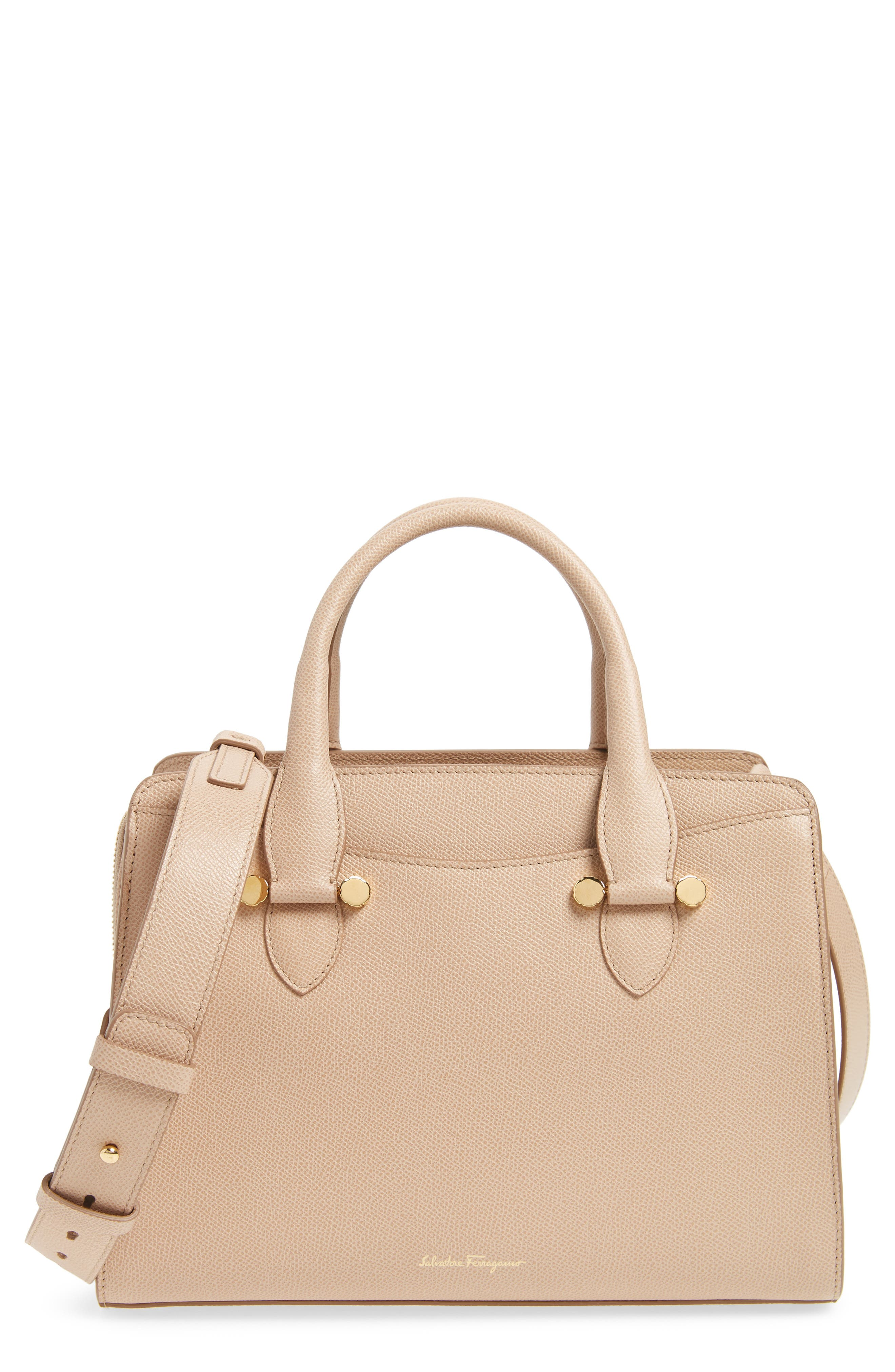 Small Today Leather Satchel,                         Main,                         color, Almond/ Sable