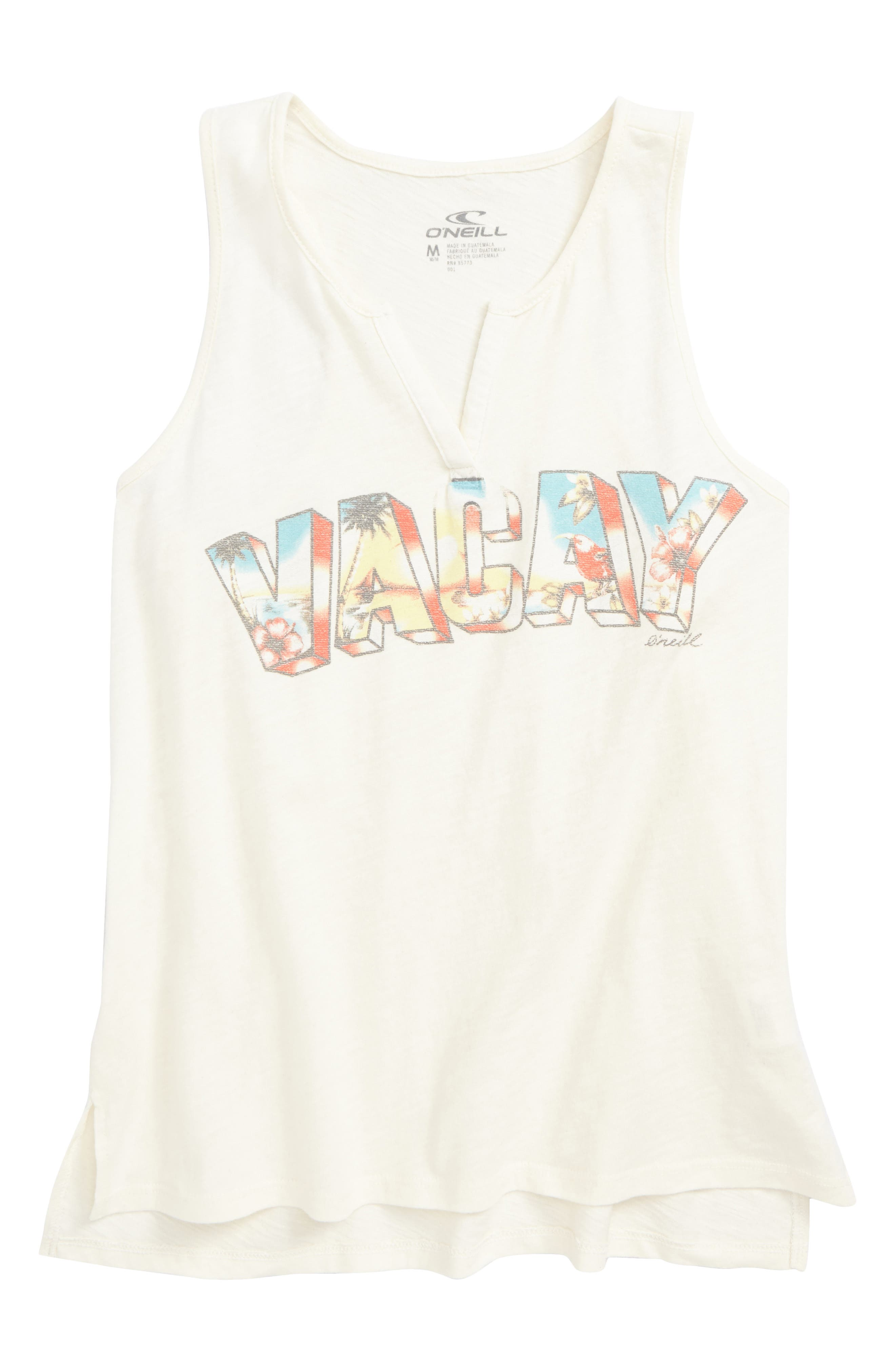 Vacay Time Graphic Tank,                         Main,                         color, White