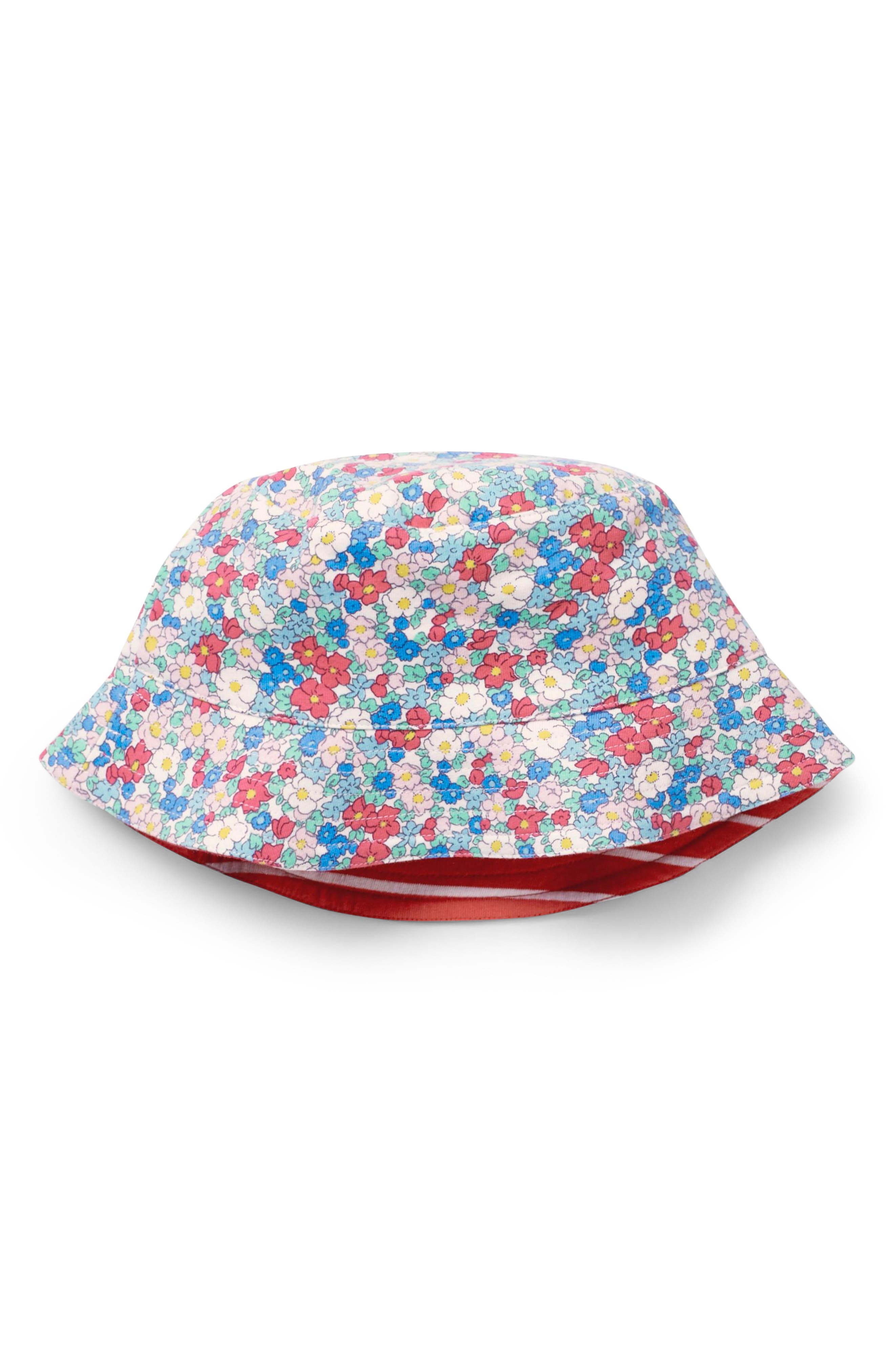 Jersey Reversible Sun Hat,                         Main,                         color, Strawberry Split Pink Floral