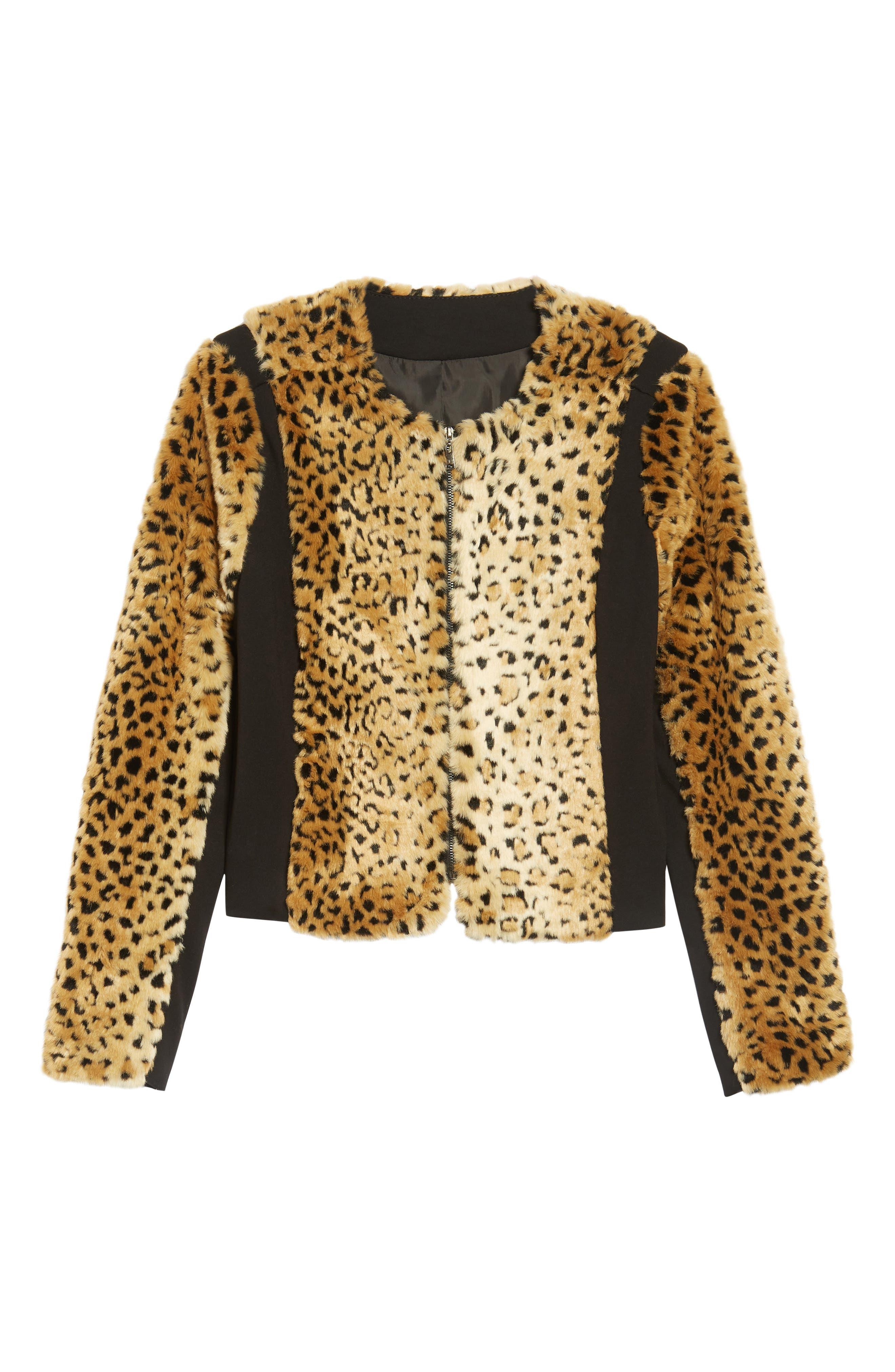 Faux Fur Leopard Jacket,                             Alternate thumbnail 6, color,                             Beige/ Black