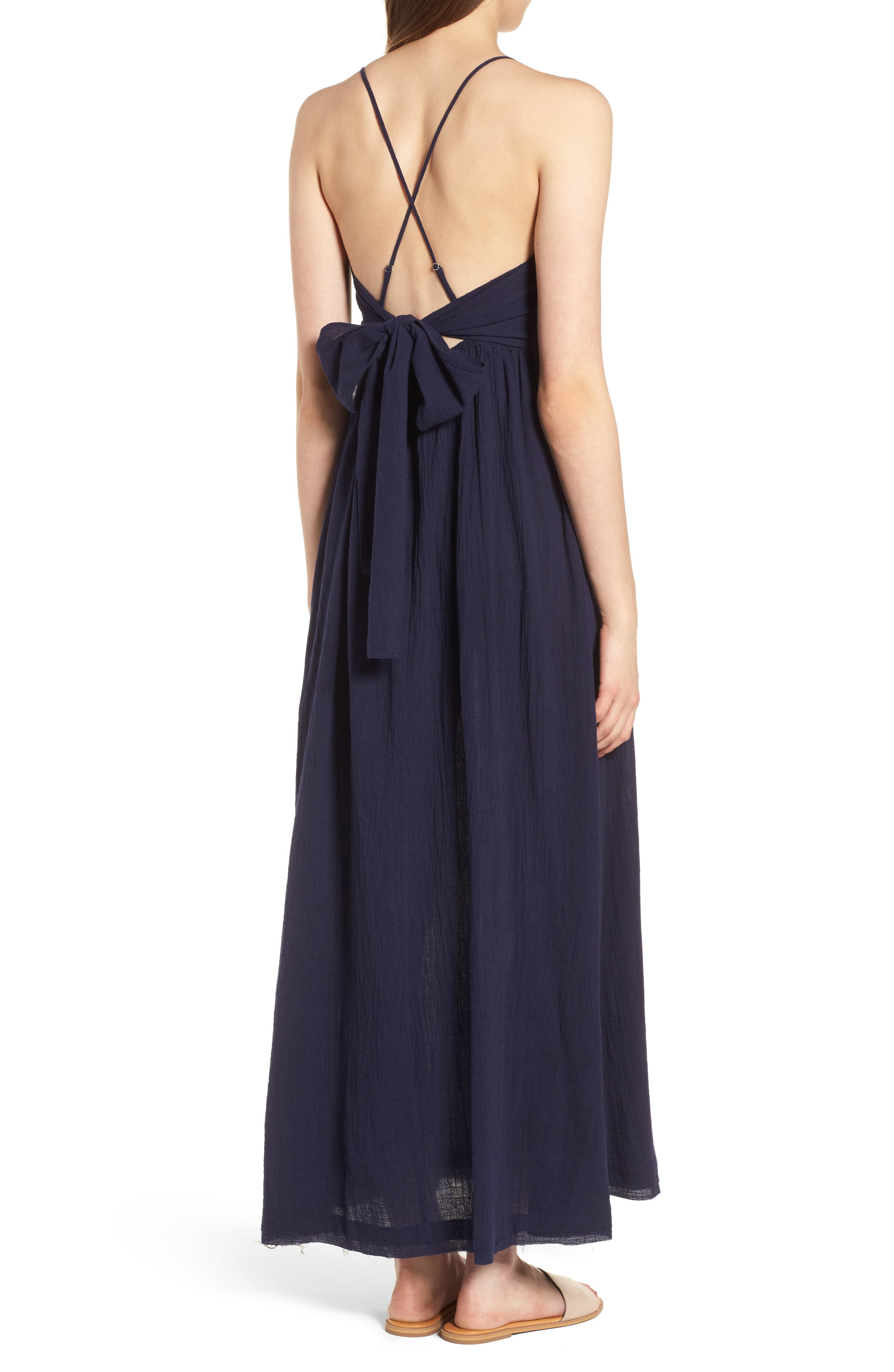Lace Inset Empire Waist Maxi Dress,                             Alternate thumbnail 3, color,                             Navy