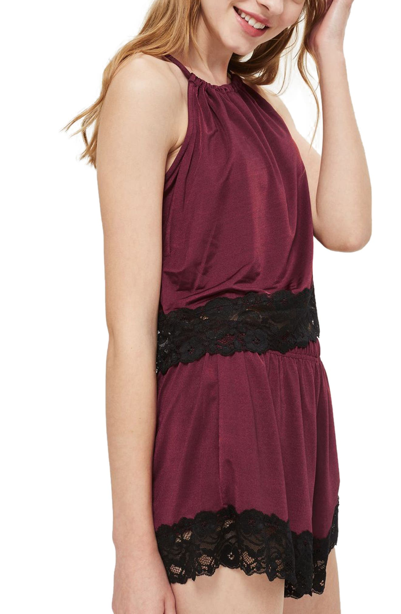 Satin & Lace Camisole,                             Alternate thumbnail 3, color,                             Berry Multi