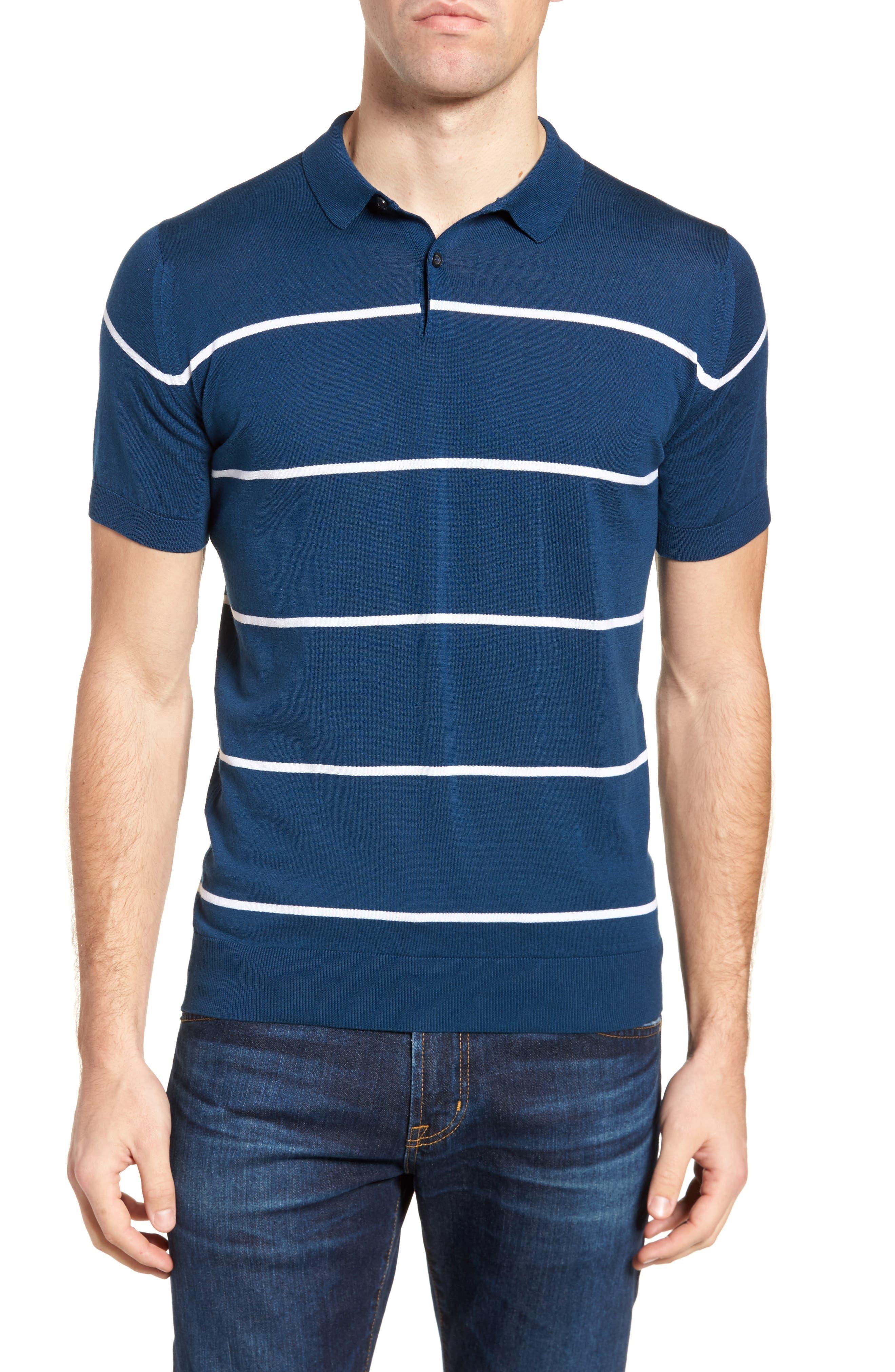 Stripe Jersey Polo,                         Main,                         color, Indigo/ White