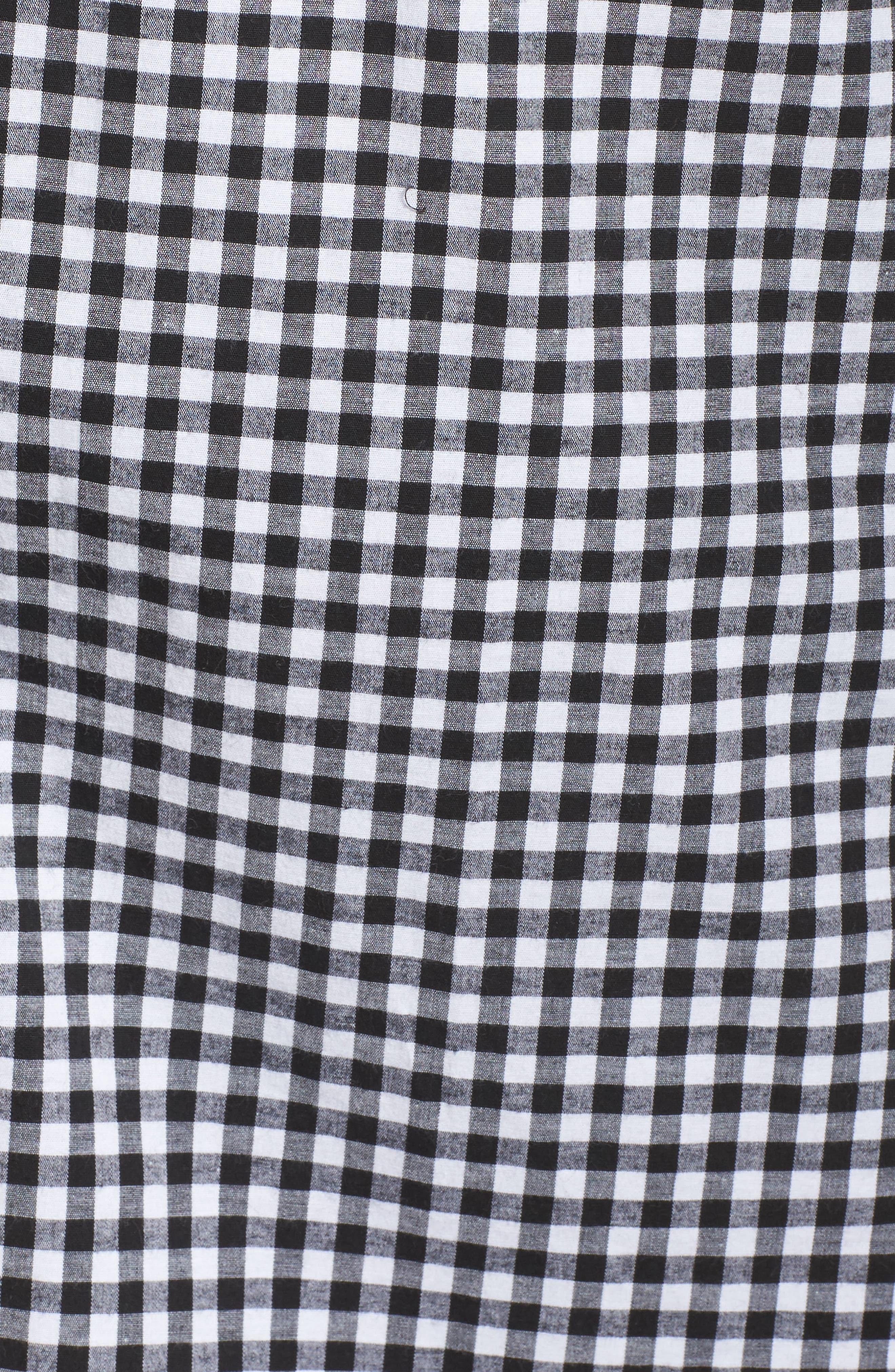 Ruffle Sleeve Gingham Shift Dress,                             Alternate thumbnail 5, color,                             Black/ White Gingham