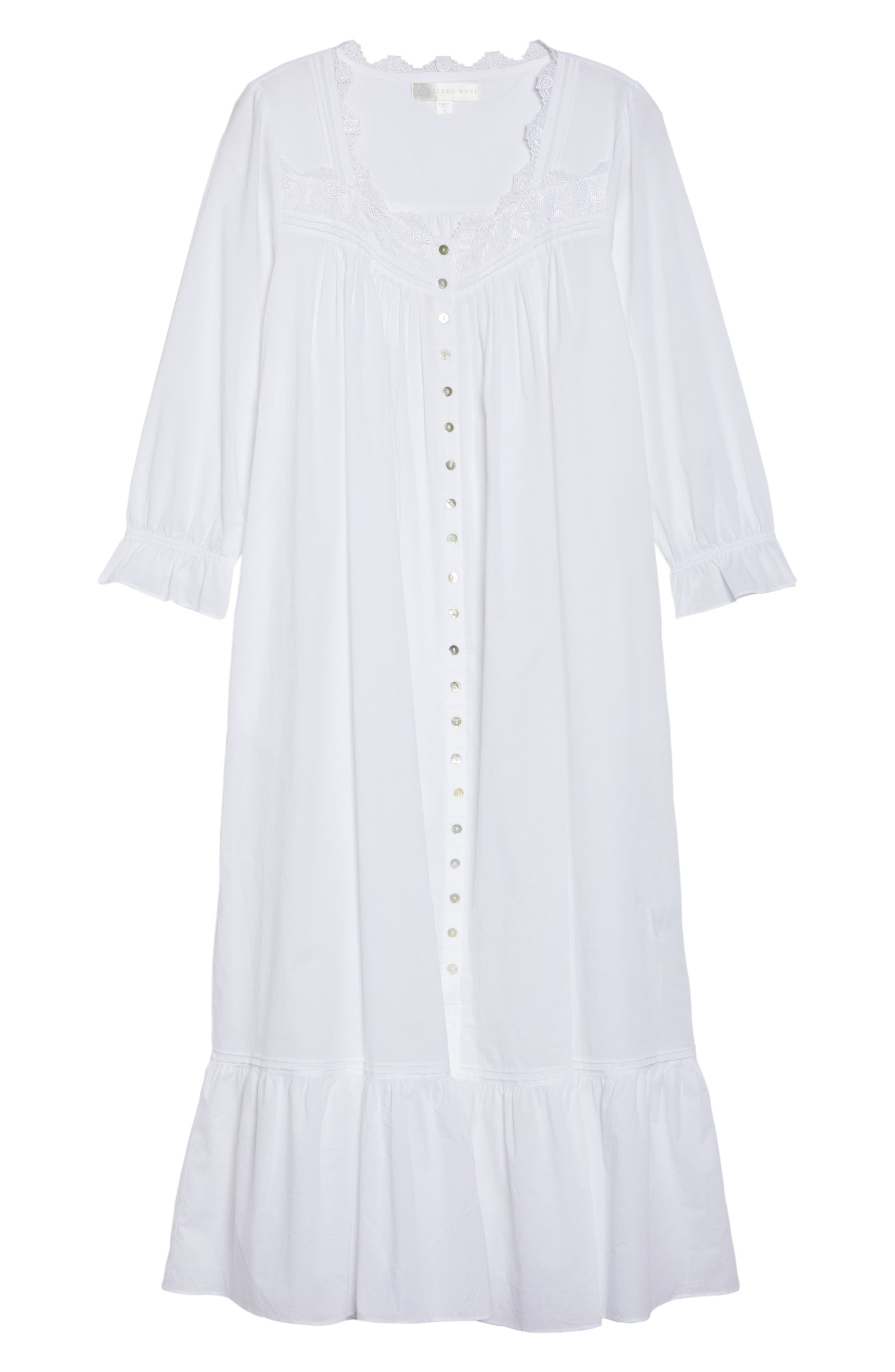 Button Front Cotton Nightgown,                             Alternate thumbnail 4, color,                             Solid White
