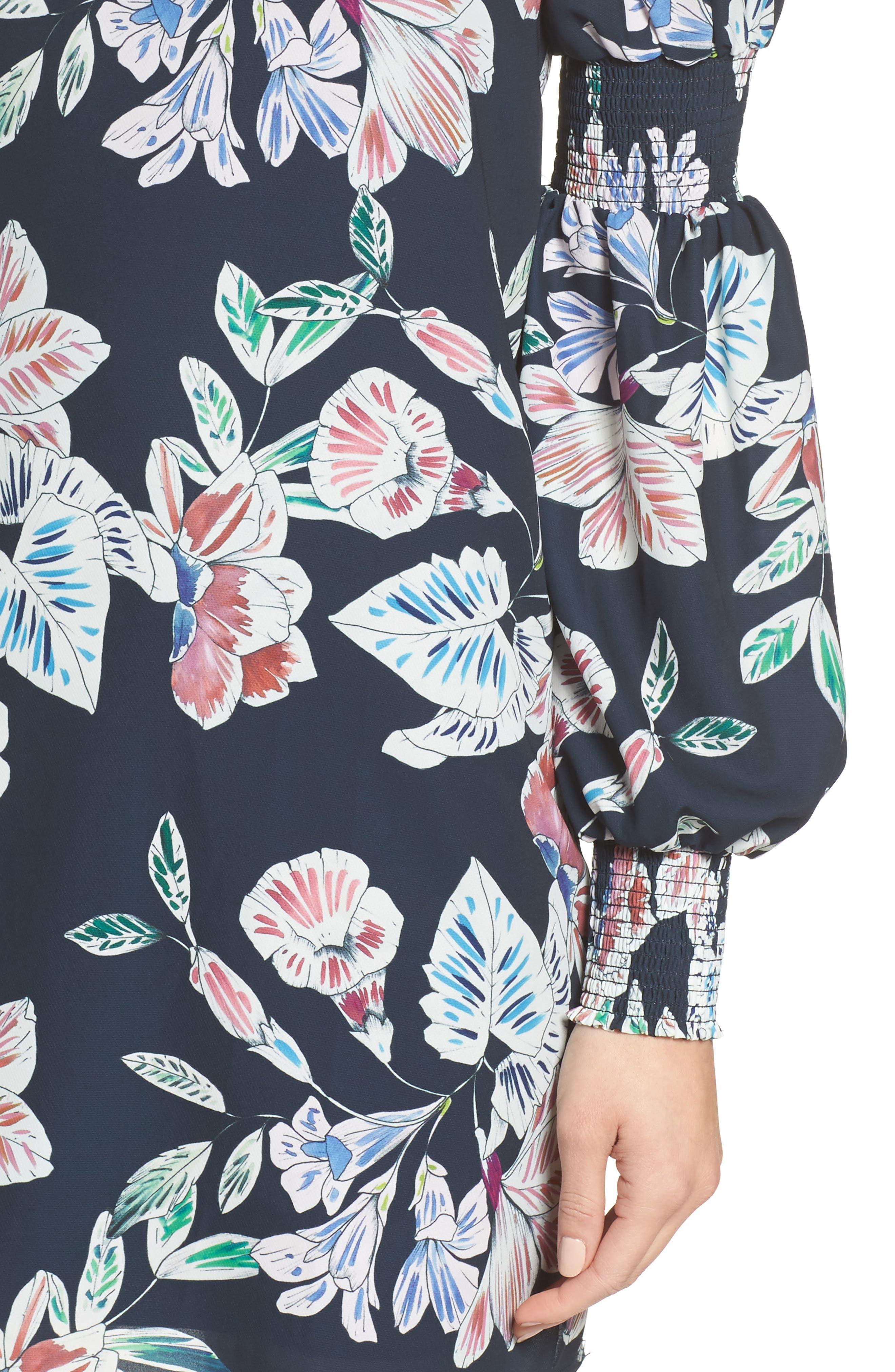 Alternate Image 4  - Cooper St Phantom Floral Smocked Sleeve Dress