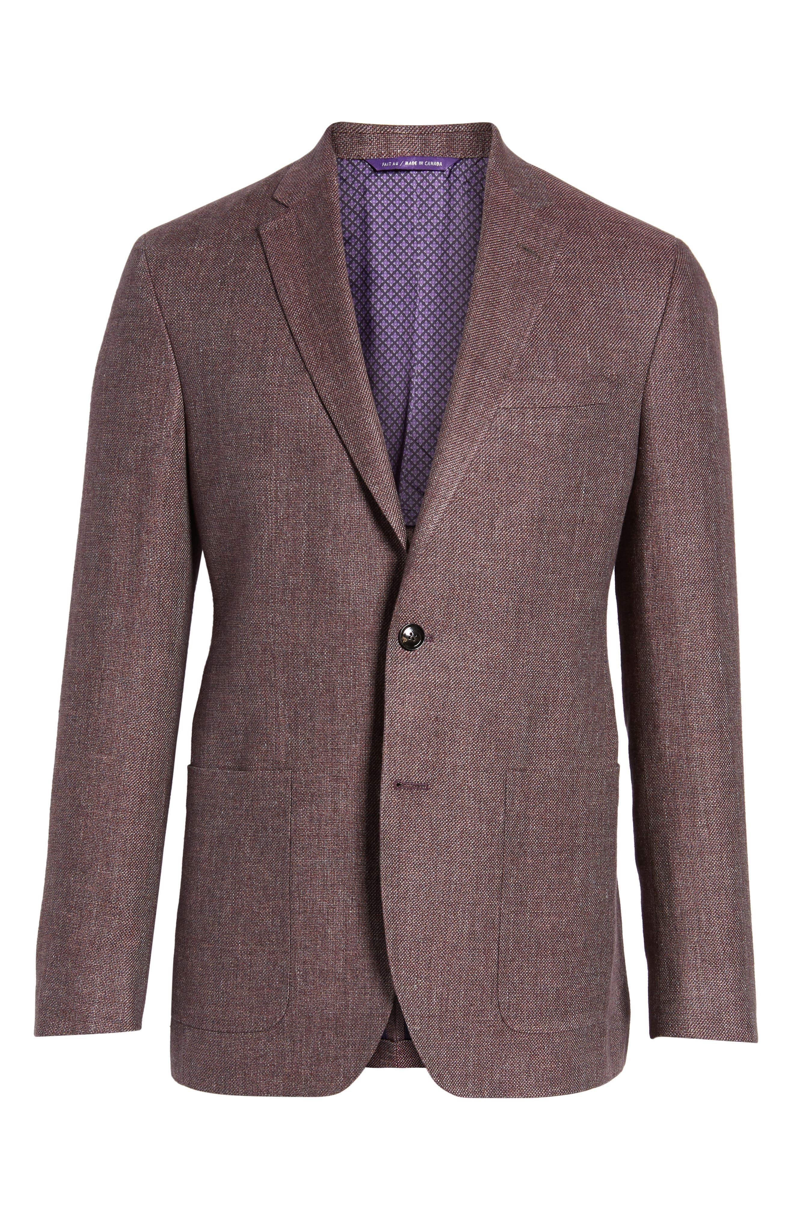 Kyle Trim Fit Linen & Wool Blazer,                             Alternate thumbnail 6, color,                             Light Brick