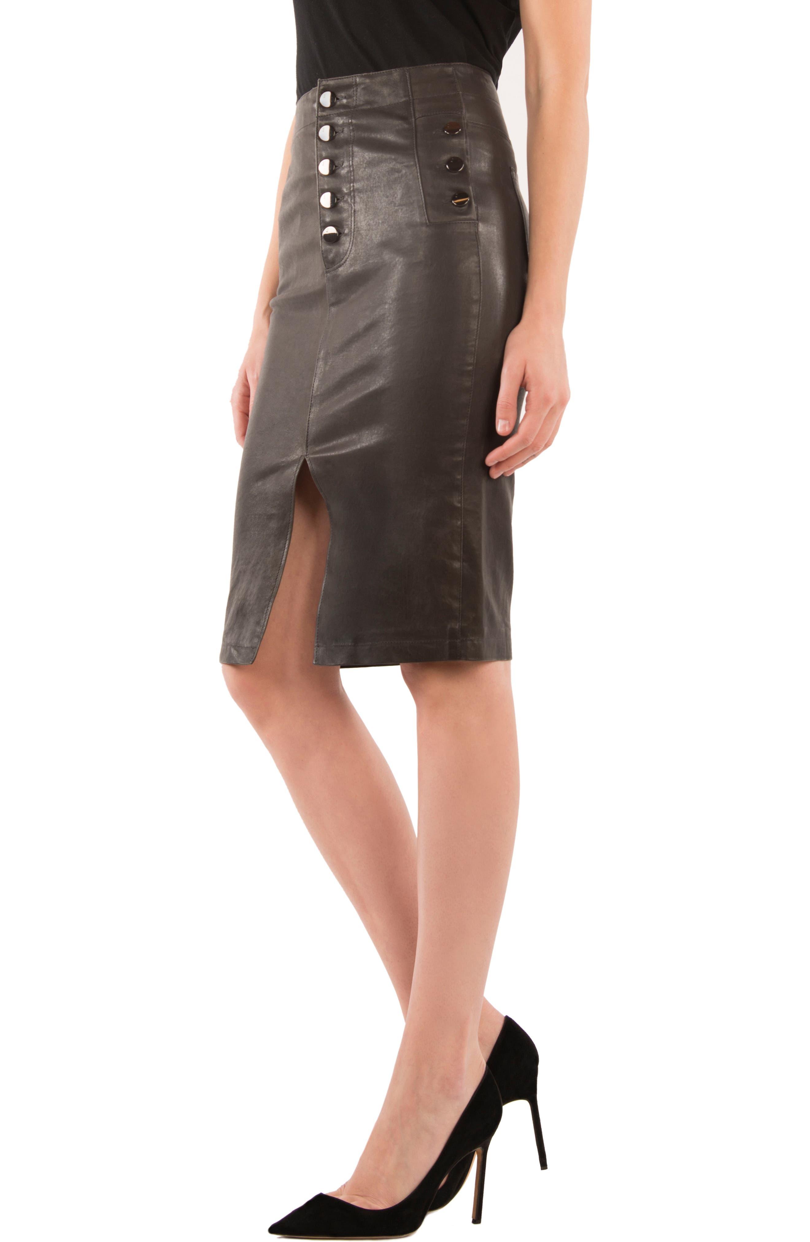 Natasha High Waist Leather Skirt,                             Alternate thumbnail 3, color,                             Dark Platinum
