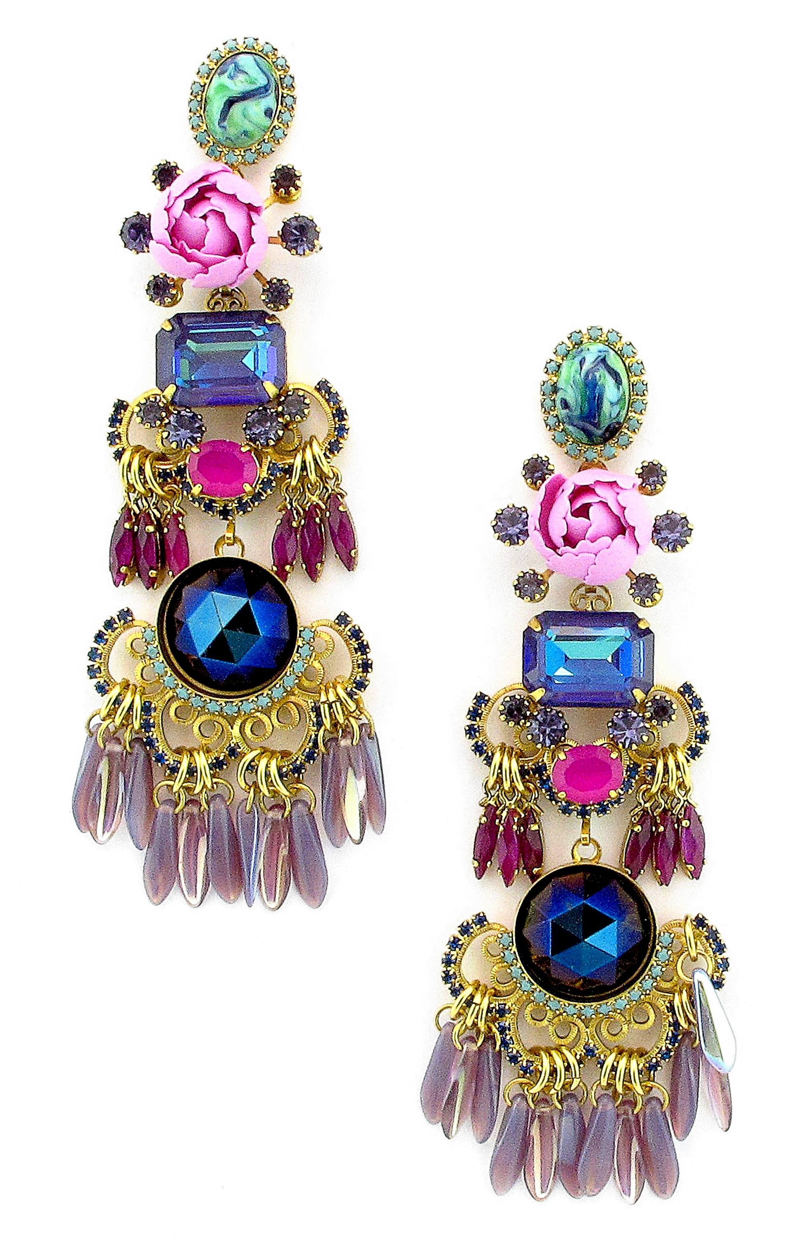 Tutti Drop Earrings,                         Main,                         color, Purple