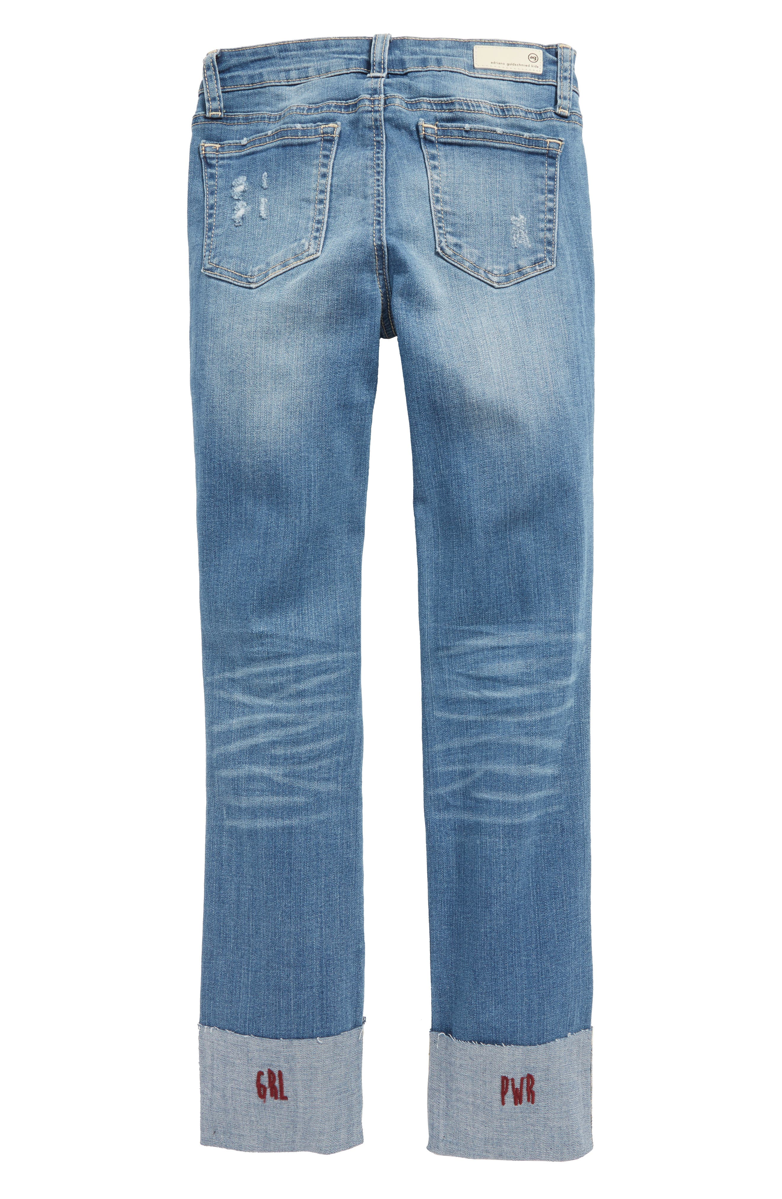 Distressed Cuffed Jeans,                             Alternate thumbnail 2, color,                             Vintage Brilliant Blue